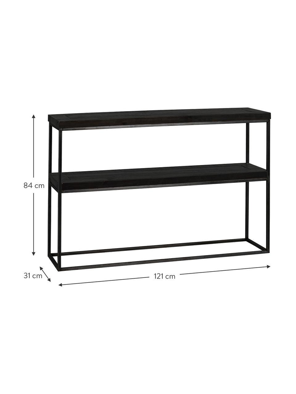 Console noire avec 2 plateaux Dalton, Tablette: noir avec structure en bois visible Structure: gris