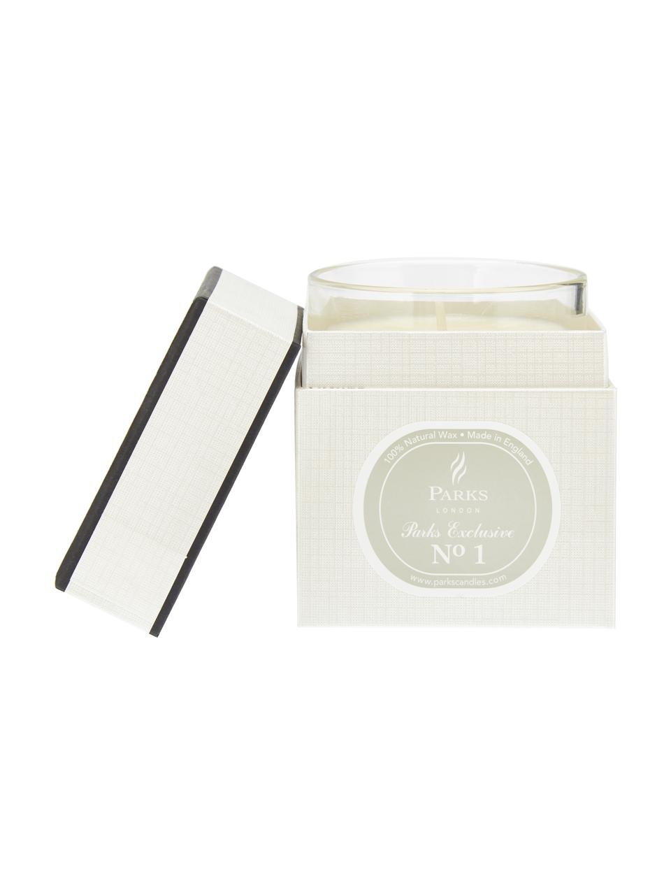Duftkerze Exclusive No 1 (Sandelholz & Vanille), Behälter: Milchglas, Transparent, Weiß, Grau, Ø 8 x H 9 cm