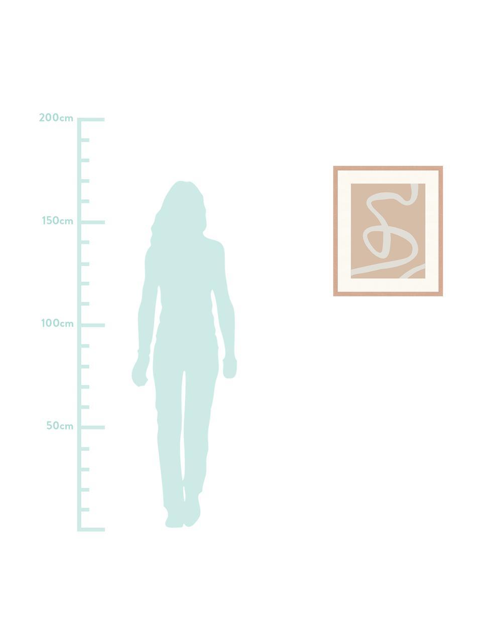 Ingelijste digitale print Abstract Beige Drawing, Afbeelding: digitale print op papier,, Lijst: gelakt hout, Houtkleurig, wit, 53 x 63 cm