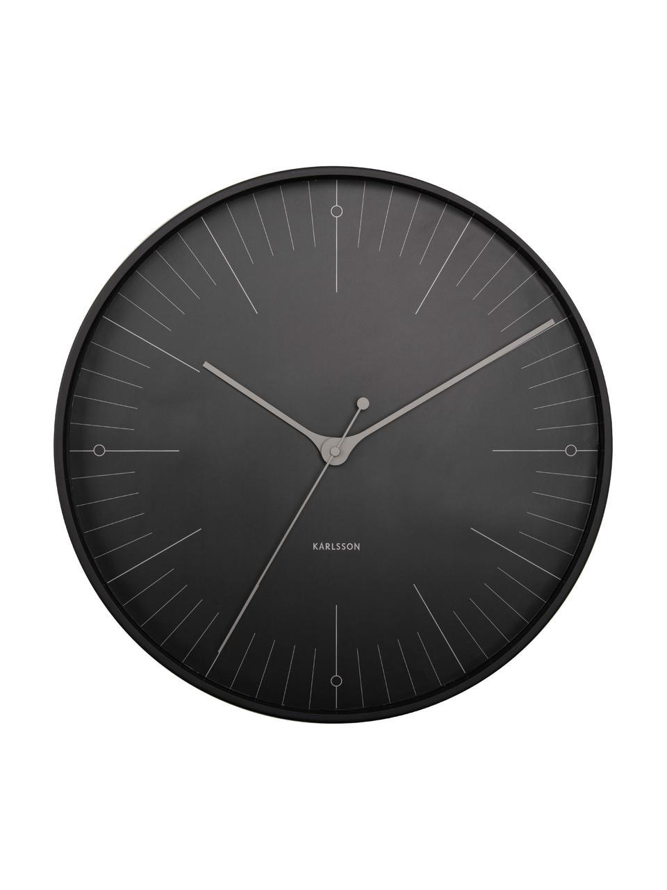 Reloj de pared Index, Metal recubierto, Negro, gris, Ø 40 cm