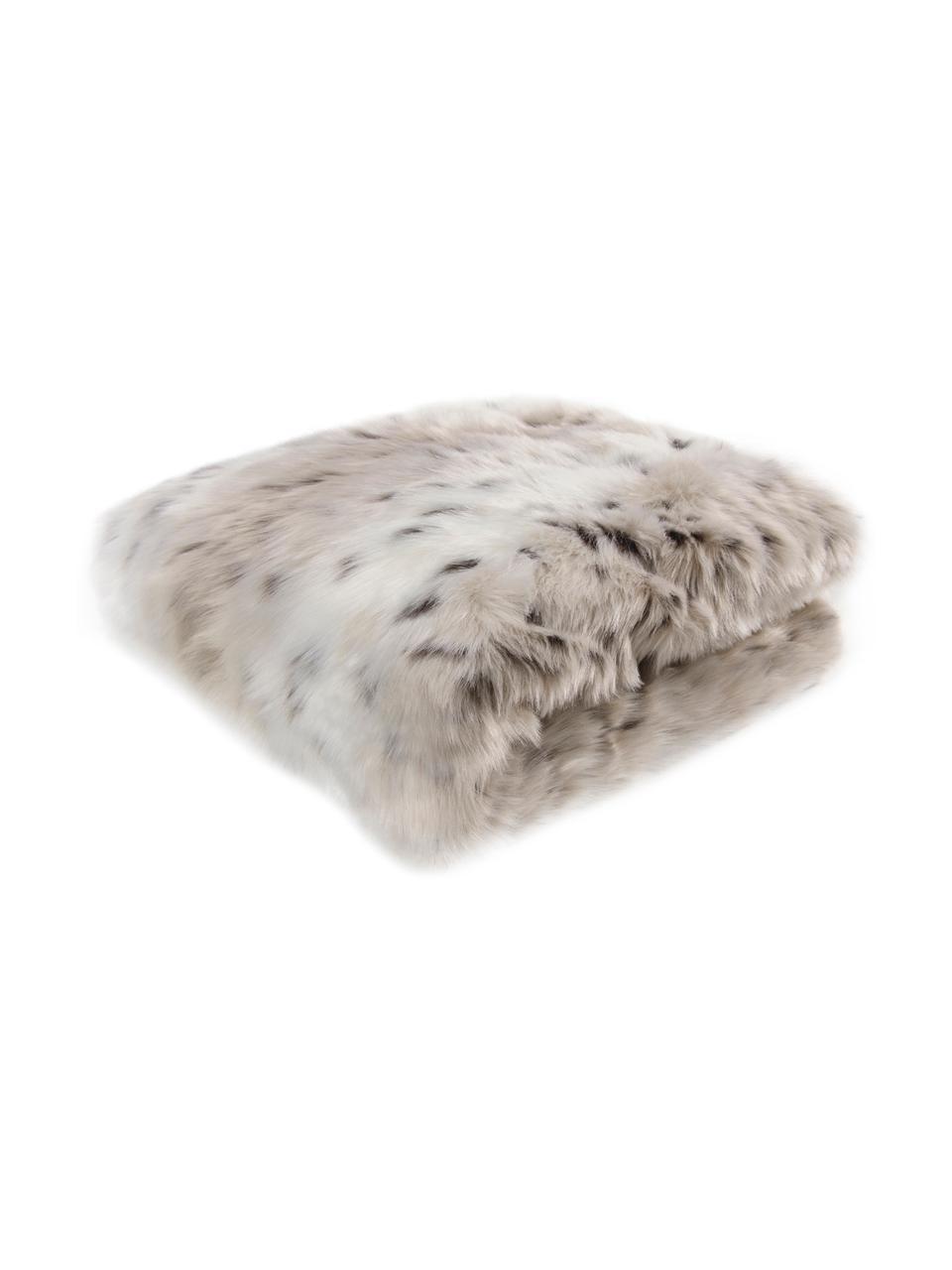 Zachte plaid Skins van imitatieleer in sneeuwluipaardlook, Bovenzijde: wit, lichtbruin, bruin. Onderzijde: ivoorkleurig, 150 x 200 cm
