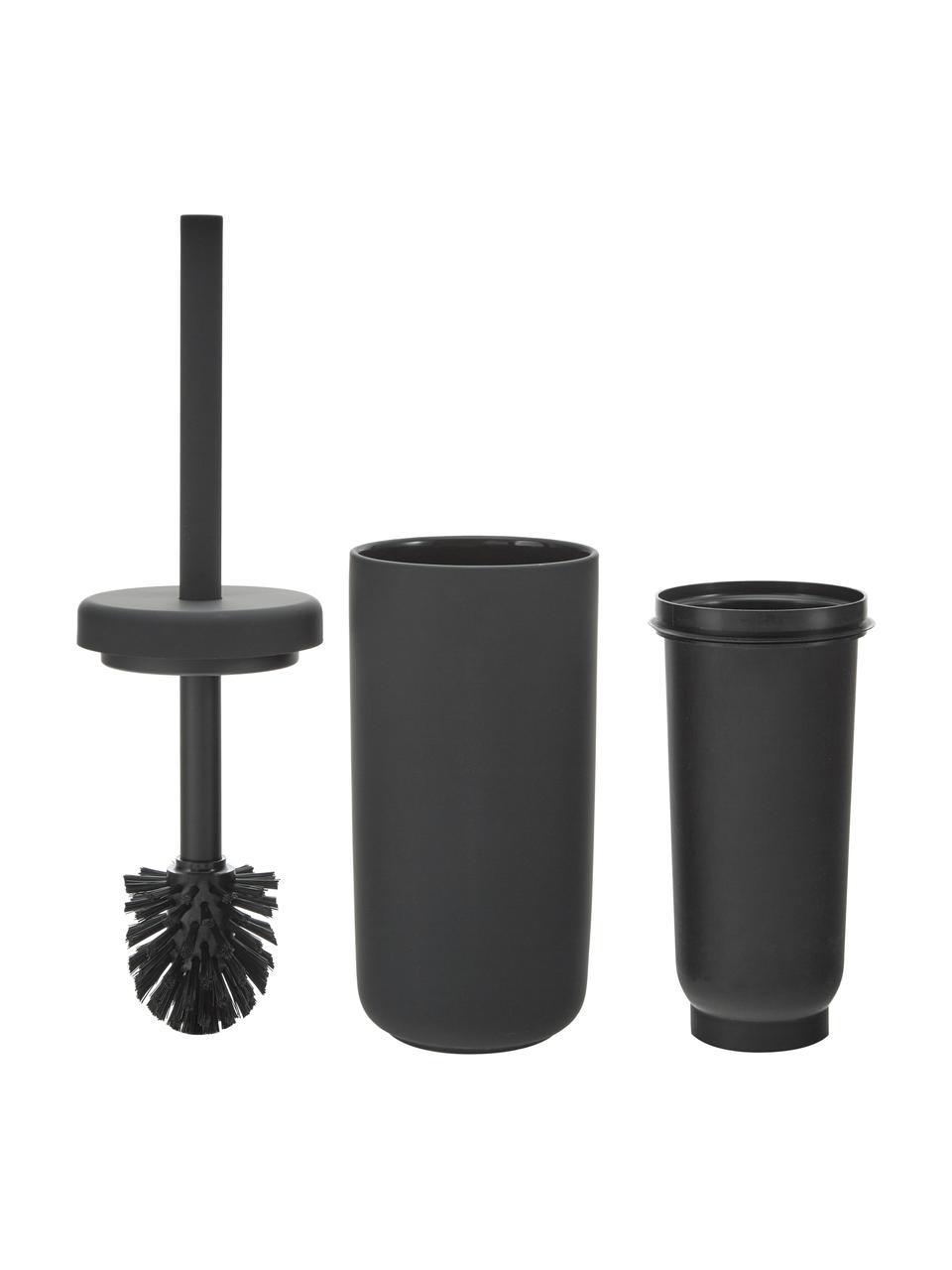 Szczotka toaletowa z pojemnikiem z kamionki Ume, Czarny, matowy, Ø 10 x W 39 cm
