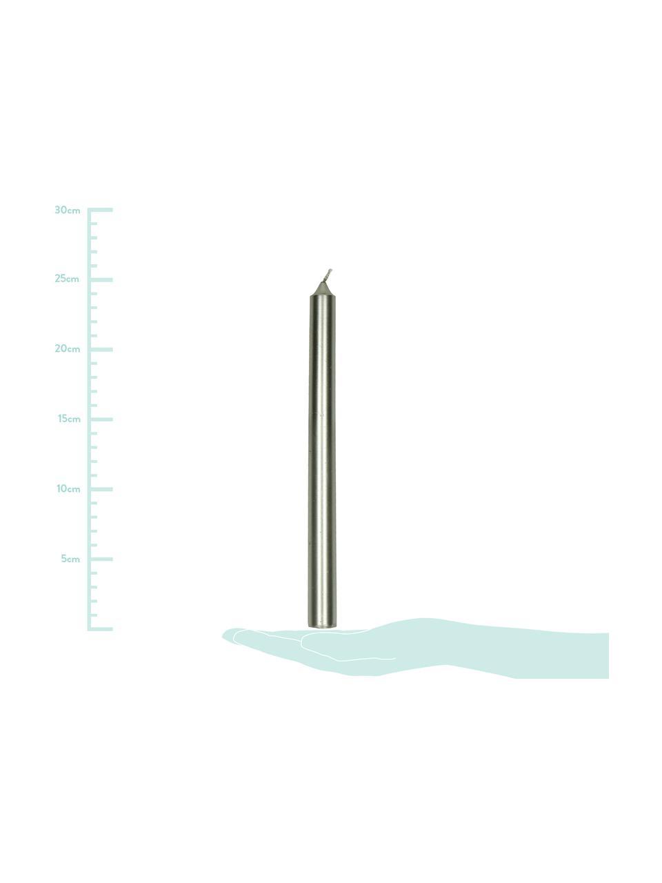 Stabkerzen Ignis, 2 Stück, Paraffinwachs, Silberfarben, Ø 2 x H 25 cm