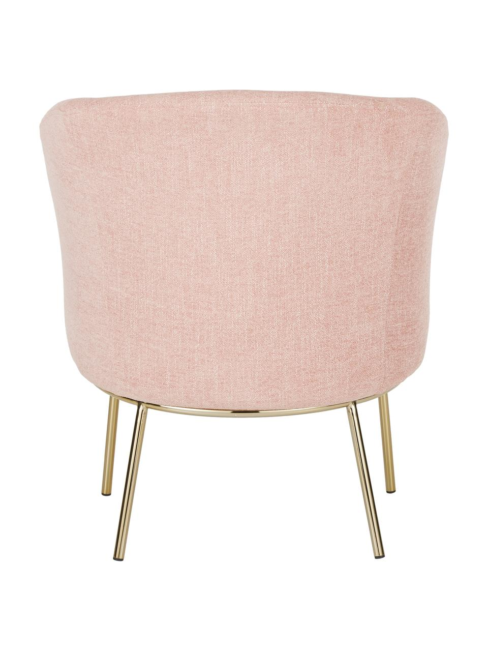 Fauteuil Kylie in roze, Bekleding: polyester, Frame: metaal, multiplex, Poten: gecoat metaal, Geweven stof oudroze, B 77 x D 72 cm