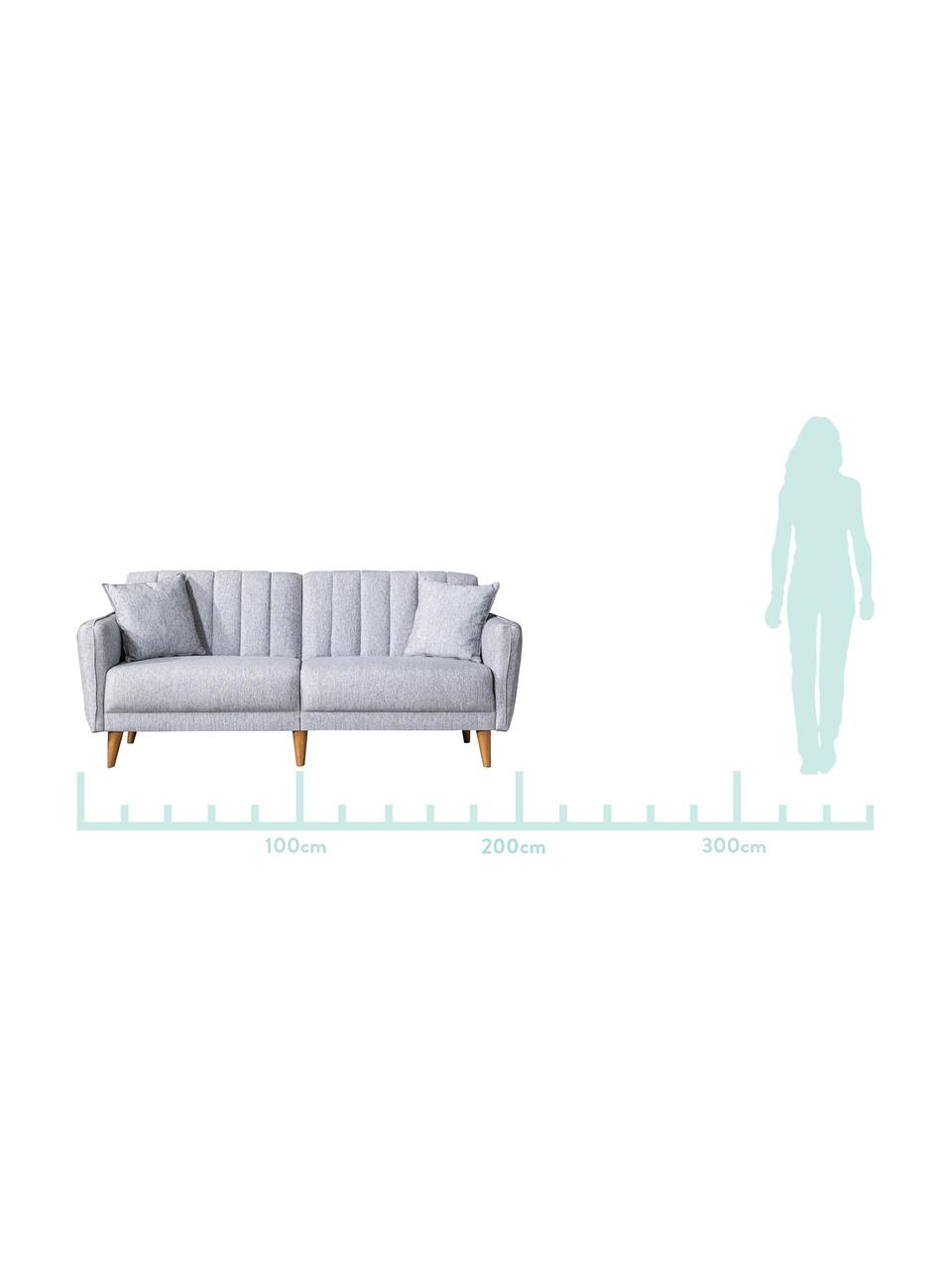 Divano letto 3 posti in lino grigio chiaro Aqua, Rivestimento: lino, Struttura: legno di corno, metallo, Grigio chiaro, Larg. 202 x Prof. 85 cm