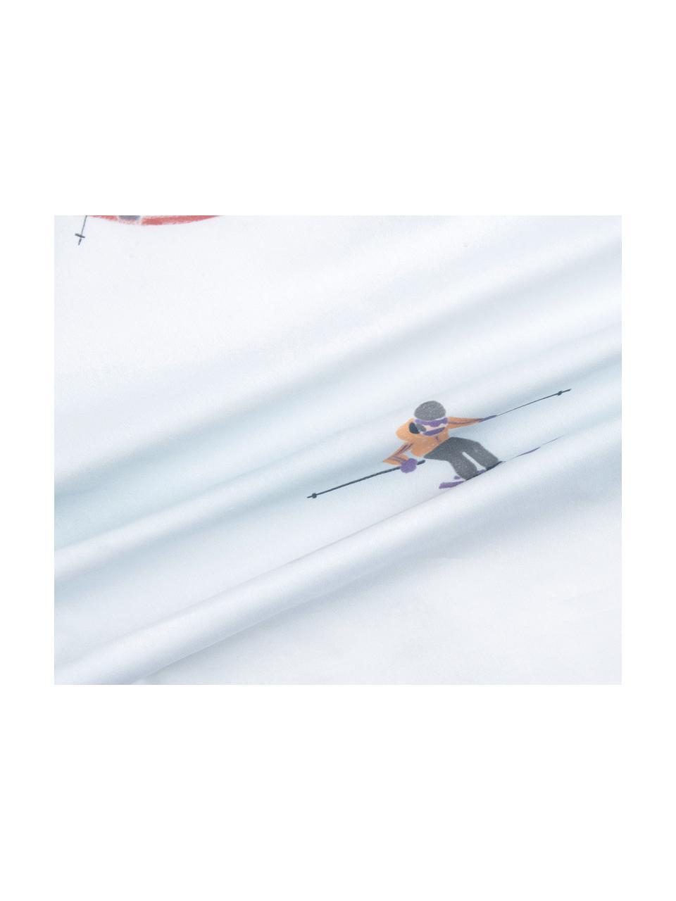 Pościel z perkalu bawełnianego Ski, Biały, wielobarwny, 135 x 200 cm