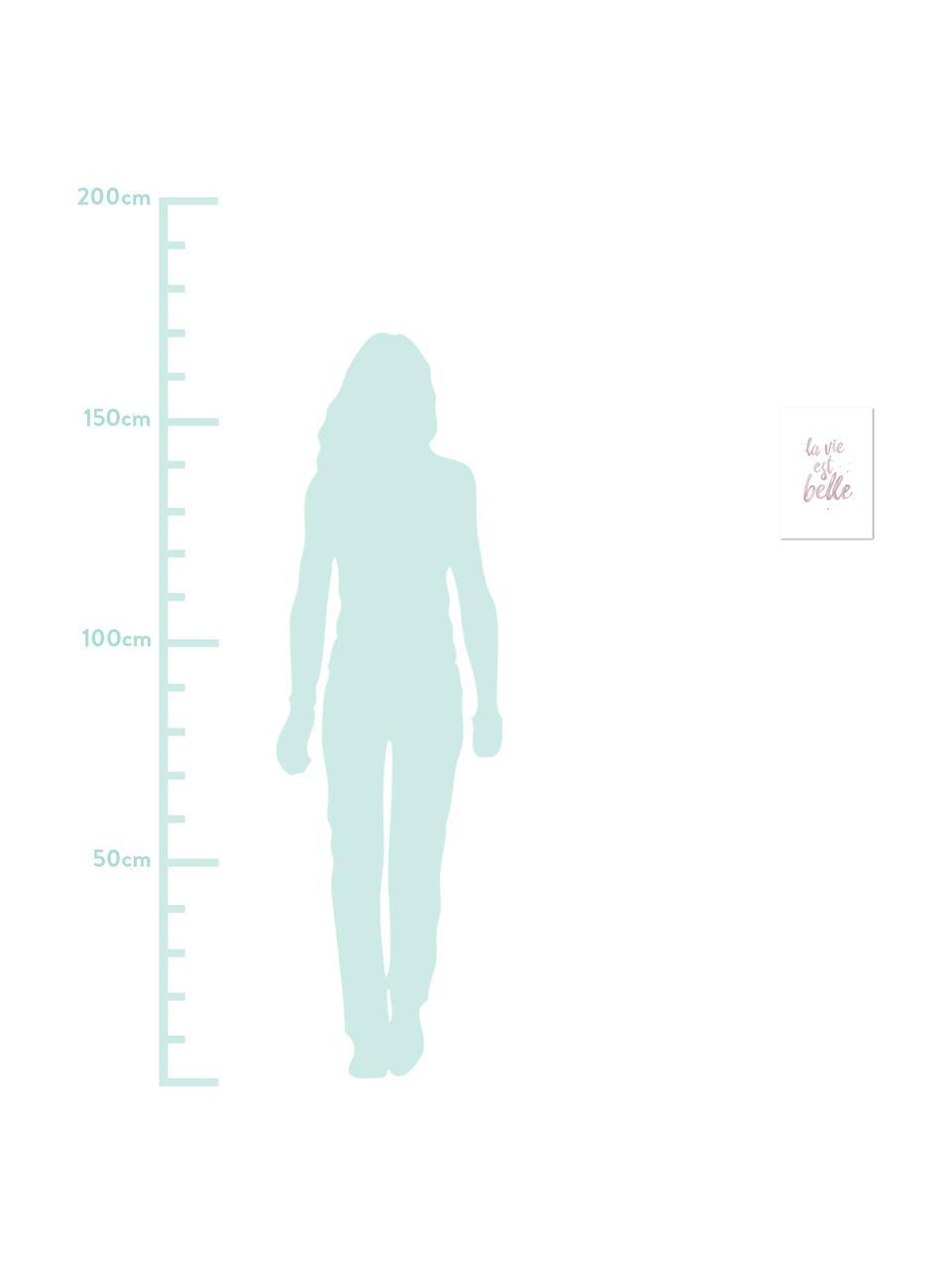 Plakat La Vie Est Belle, Druk cyfrowy na papierze, 200 g/m², Blady różowy, biały, S 21 x W 30 cm
