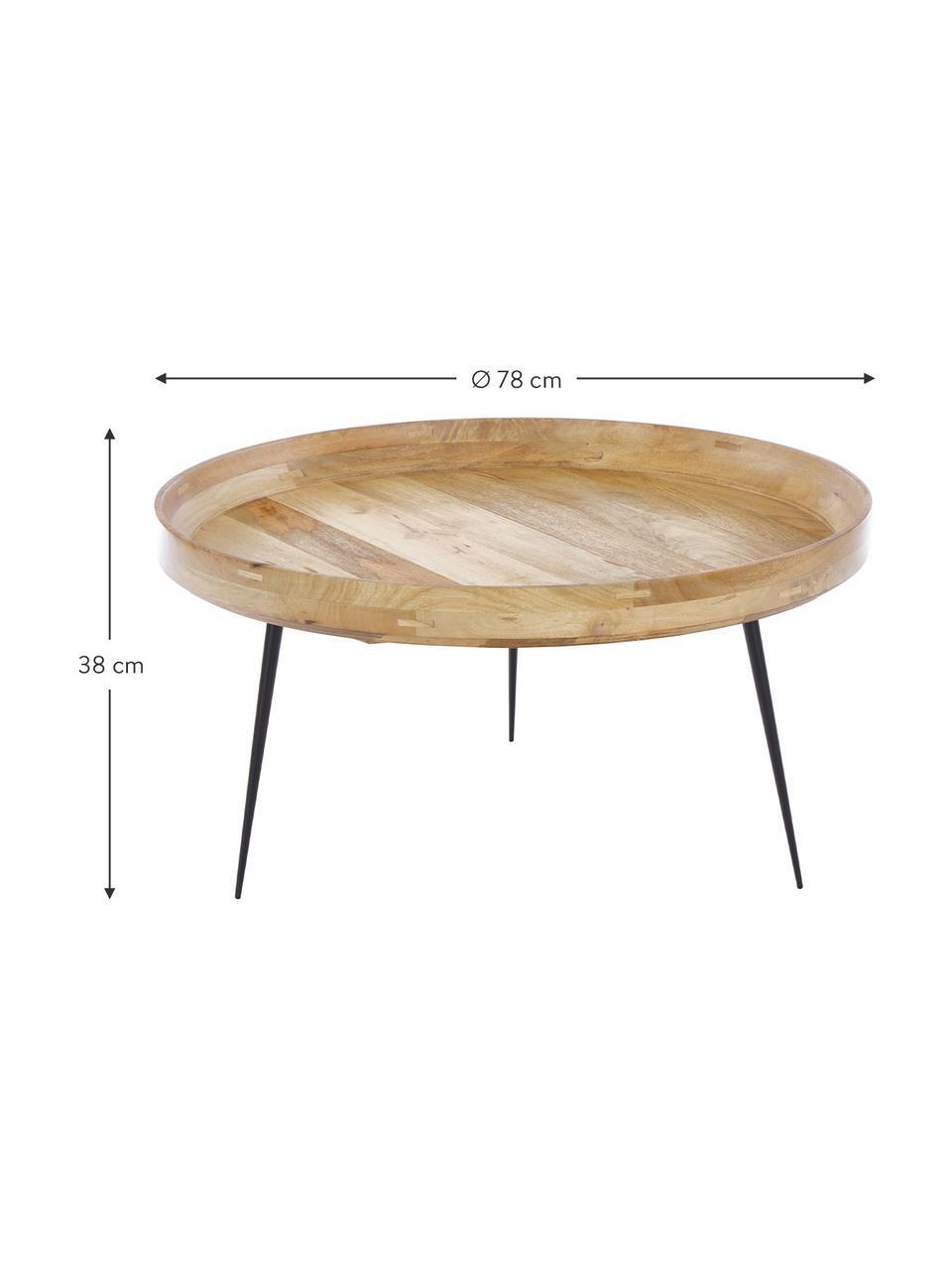Design-Couchtisch Bowl Table aus Mangoholz, Tischplatte: Mangoholz, gebeizt, Beine: Stahl, pulverbeschichtet, Braun, Ø 75 x H 38 cm