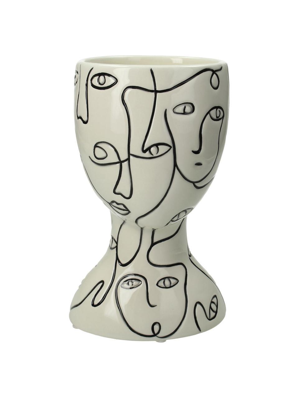 Übertopf Faces aus Steingut, Steingut, Gebrochenes Weiß, Schwarz, 12 x 20 cm
