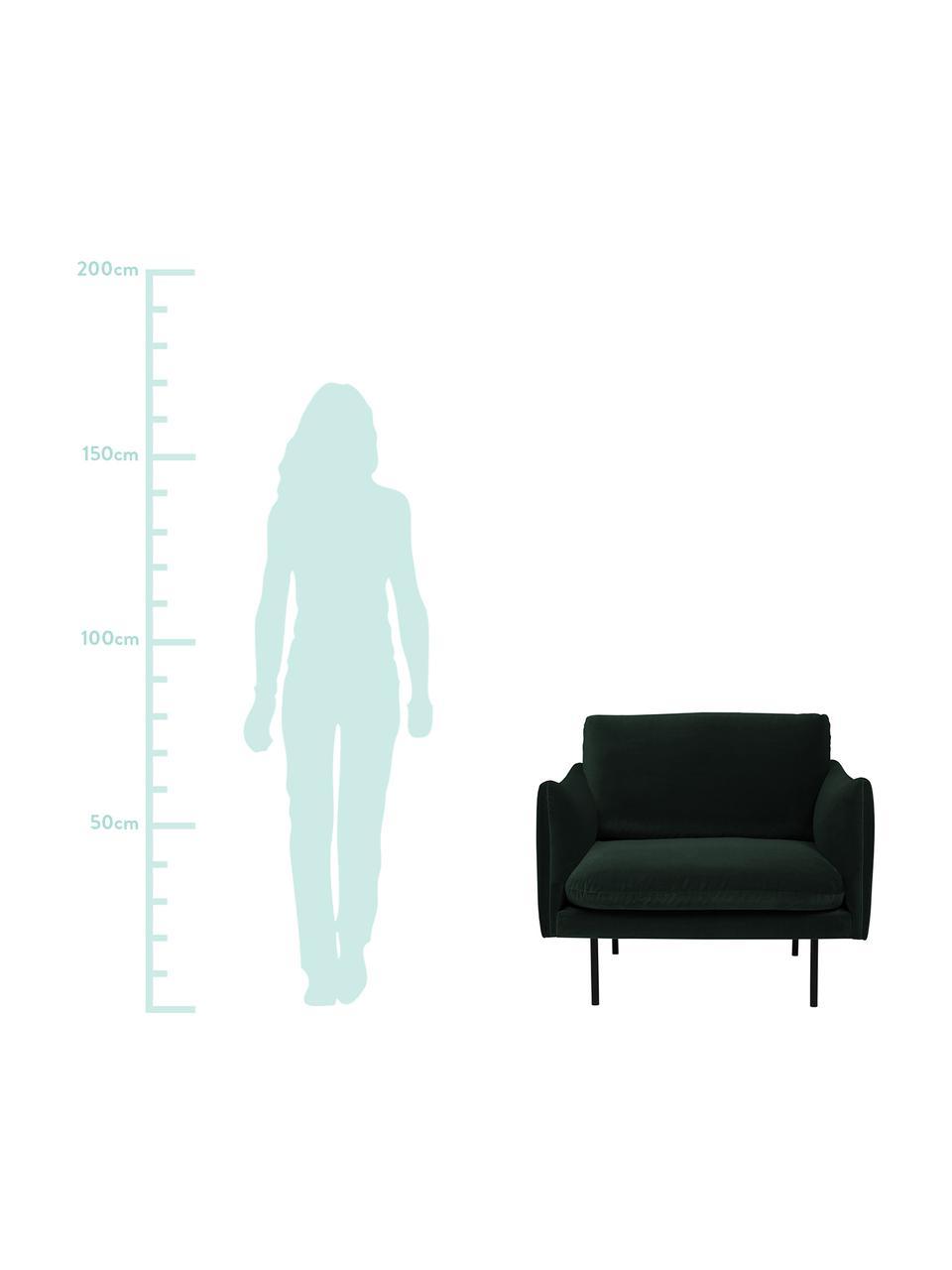 Samt-Sessel Moby in Dunkelgrün mit Metall-Füßen, Bezug: Samt (Hochwertiger Polyes, Gestell: Massives Kiefernholz, Füße: Metall, pulverbeschichtet, Samt Dunkelgrün, B 90 x T 90 cm