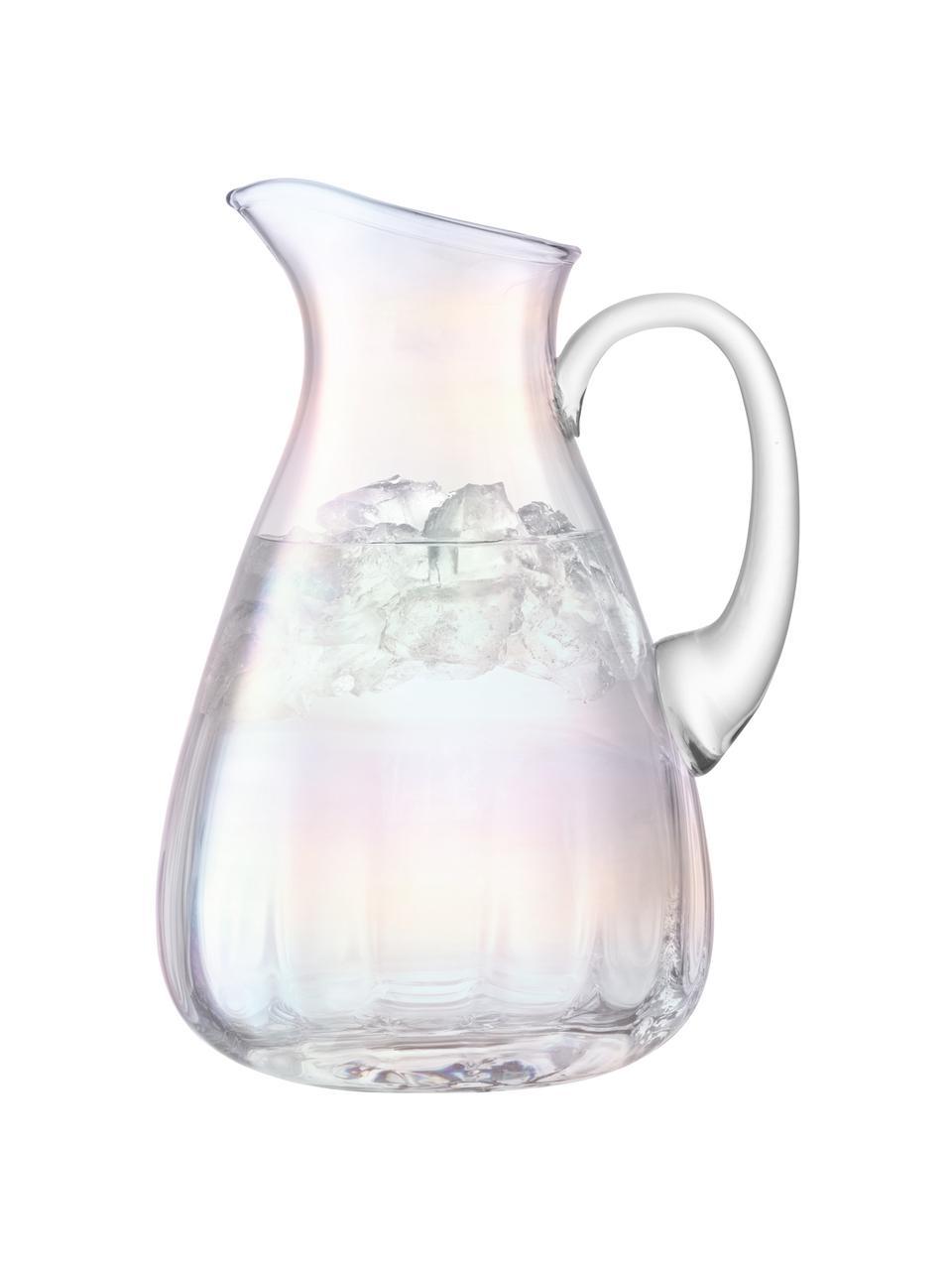 Brocca in vetro soffiato Pearl, 2.2 L, Vetro, Riflessi madreperlacei, 2.2 L