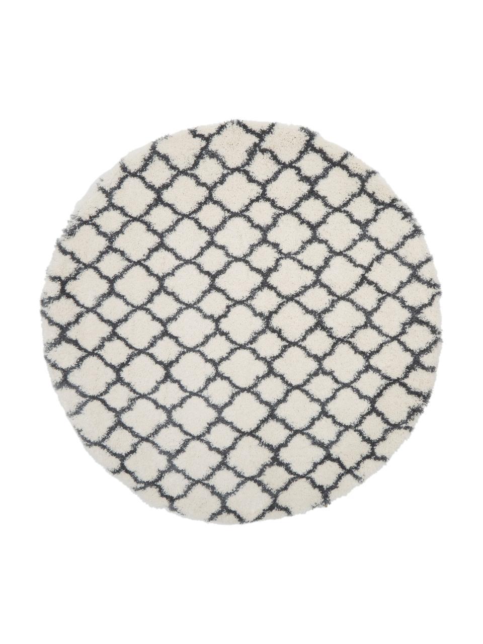 Hochflor-Teppich Mona in Cremeweiß/Dunkelgrau, Flor: 100% Polypropylen, Cremeweiß, Dunkelgrau, Ø 150 cm (Größe M)