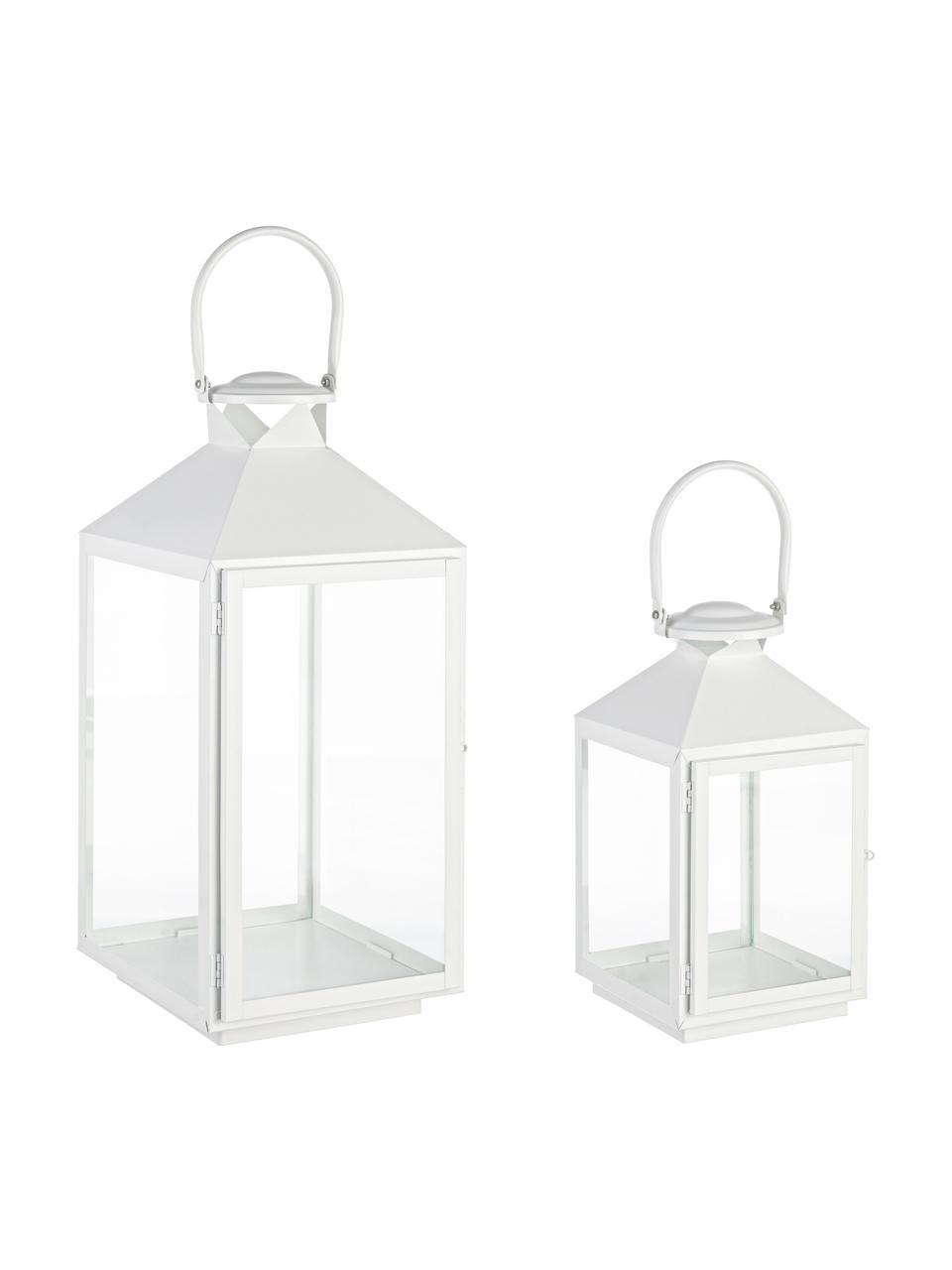 Komplet latarenek Classy, 2 elem., Stelaż: metal powlekany, Transparentny, biały, Komplet z różnymi rozmiarami