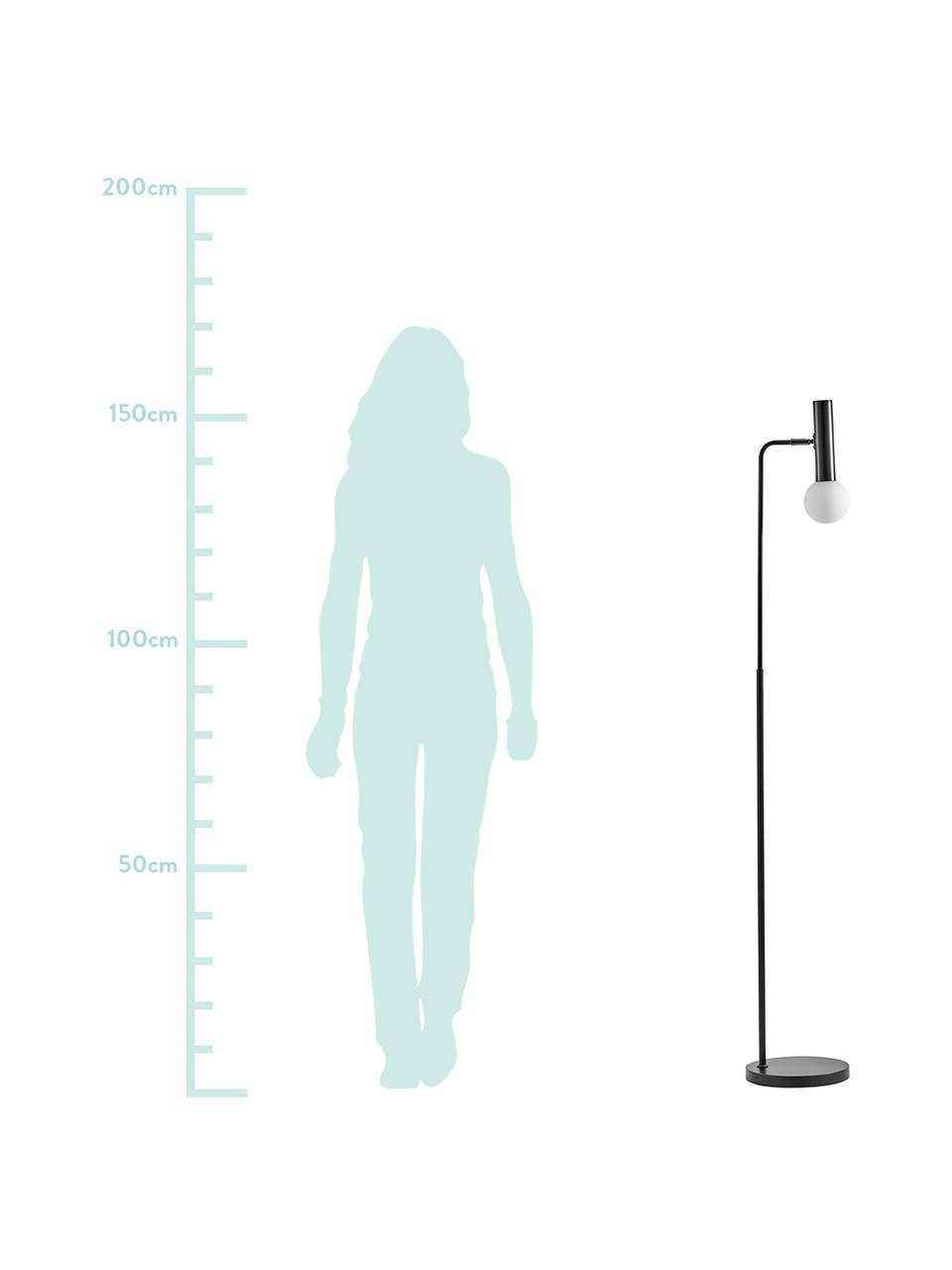 Leselampe Wilson mit Glasschirm, Lampenfuß: Metall, pulverbeschichtet, Lampenschirm: Glas, Schwarz, Ø 10 x H 151 cm