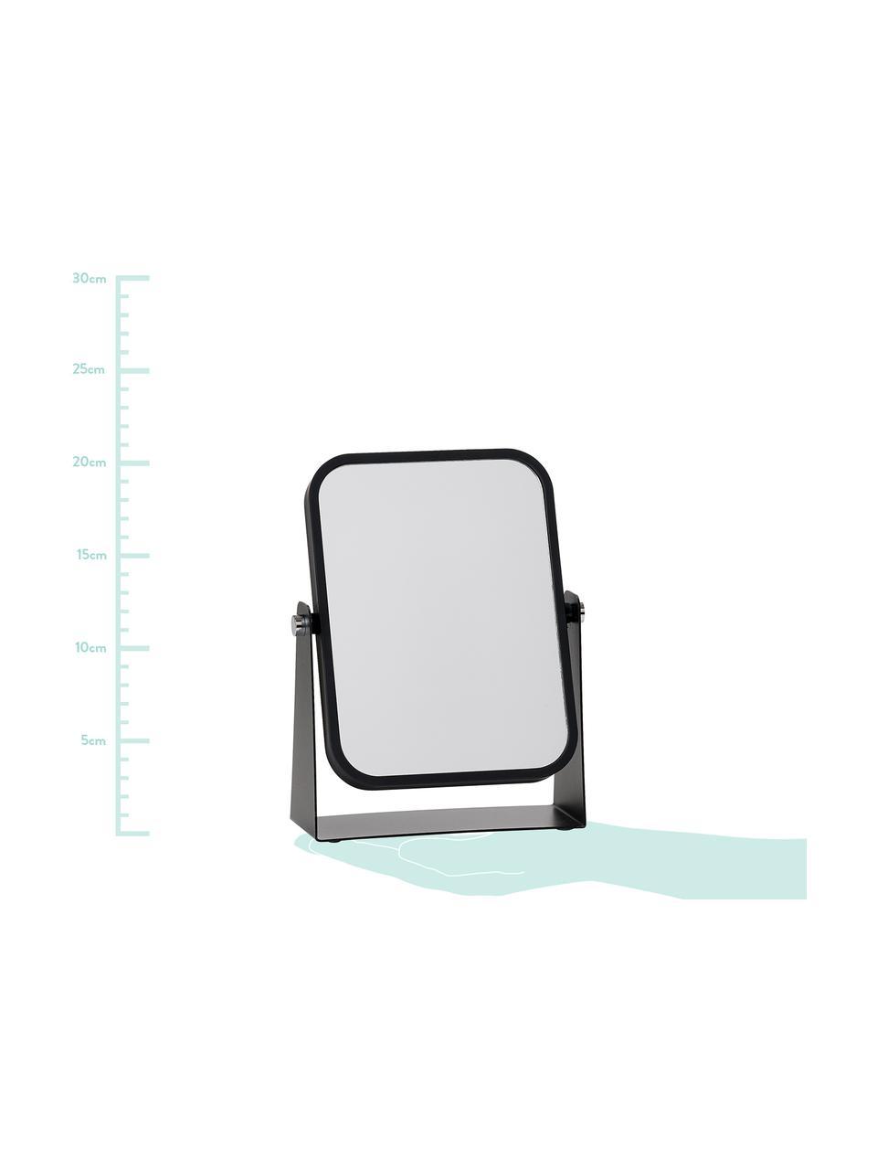 Kosmetikspiegel Aurora mit Vergrößerung, Rahmen: Metall, Spiegelfläche: Spiegelglas, Rahmen: SchwarzSpiegelfläche: Spiegelglas, 15 x 21 cm