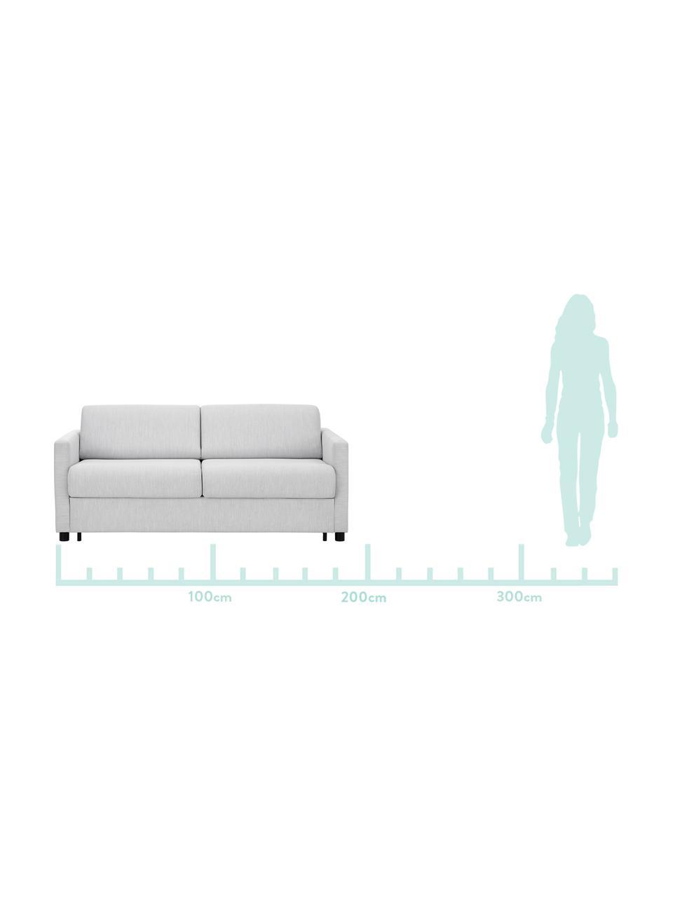 Schlafsofa Morgan (2-Sitzer) in Hellgrau, ausklappbar, Bezug: 100% Polyester Der hochwe, Füße: Massives Kiefernholz, lac, Grau, B 187 x T 92 cm