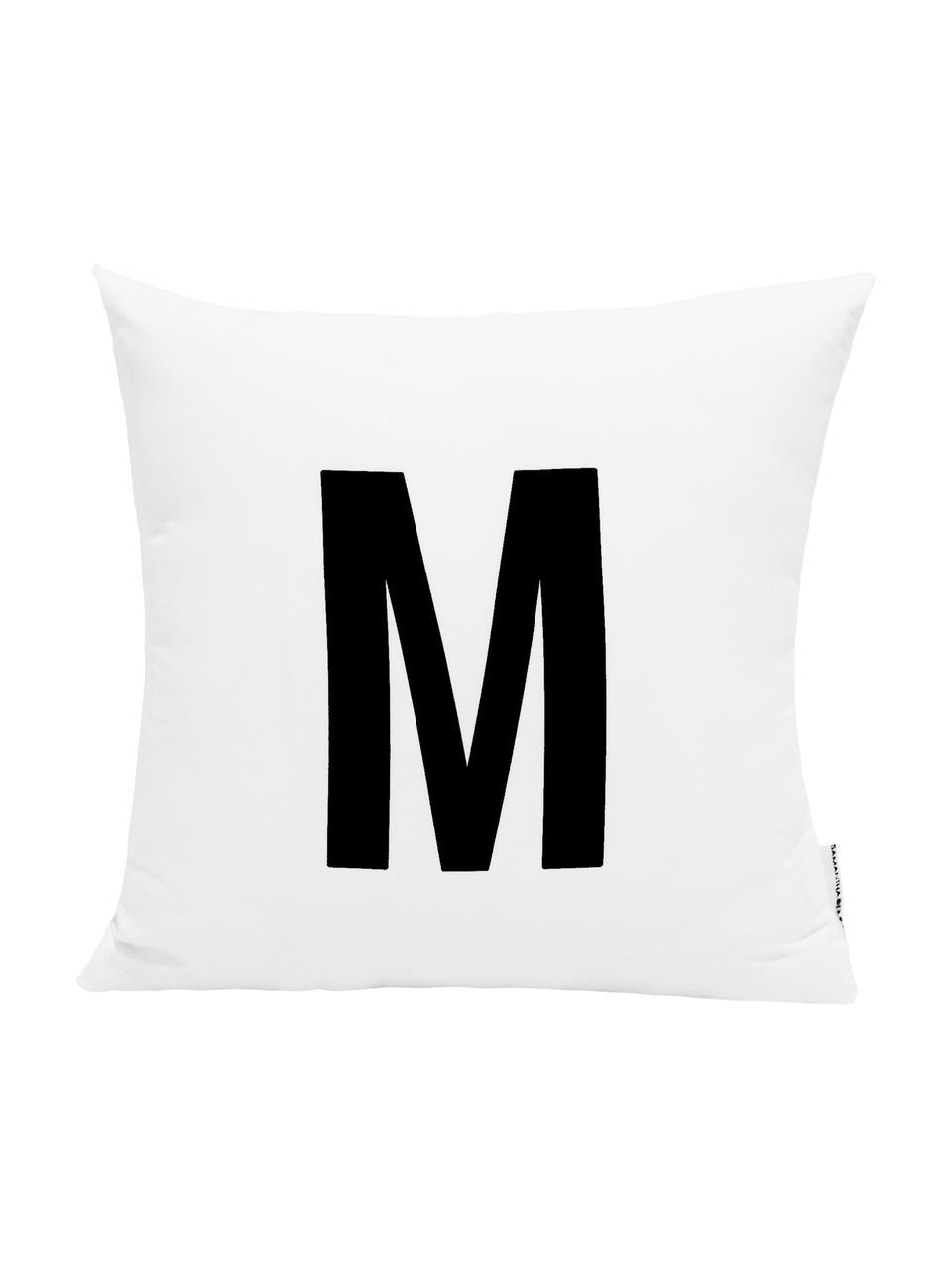 Federa arredo Alphabet (varianti dalla A alla Z), 100% poliestere, Nero, bianco, Federa arredo M