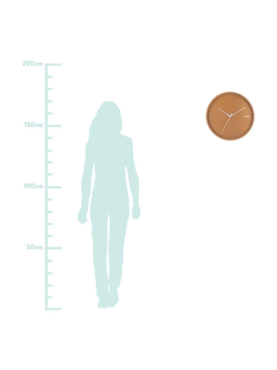 Wanduhr Hue, Metall, beschichtet, Karamellbraun, Weiß, Ø 40 cm