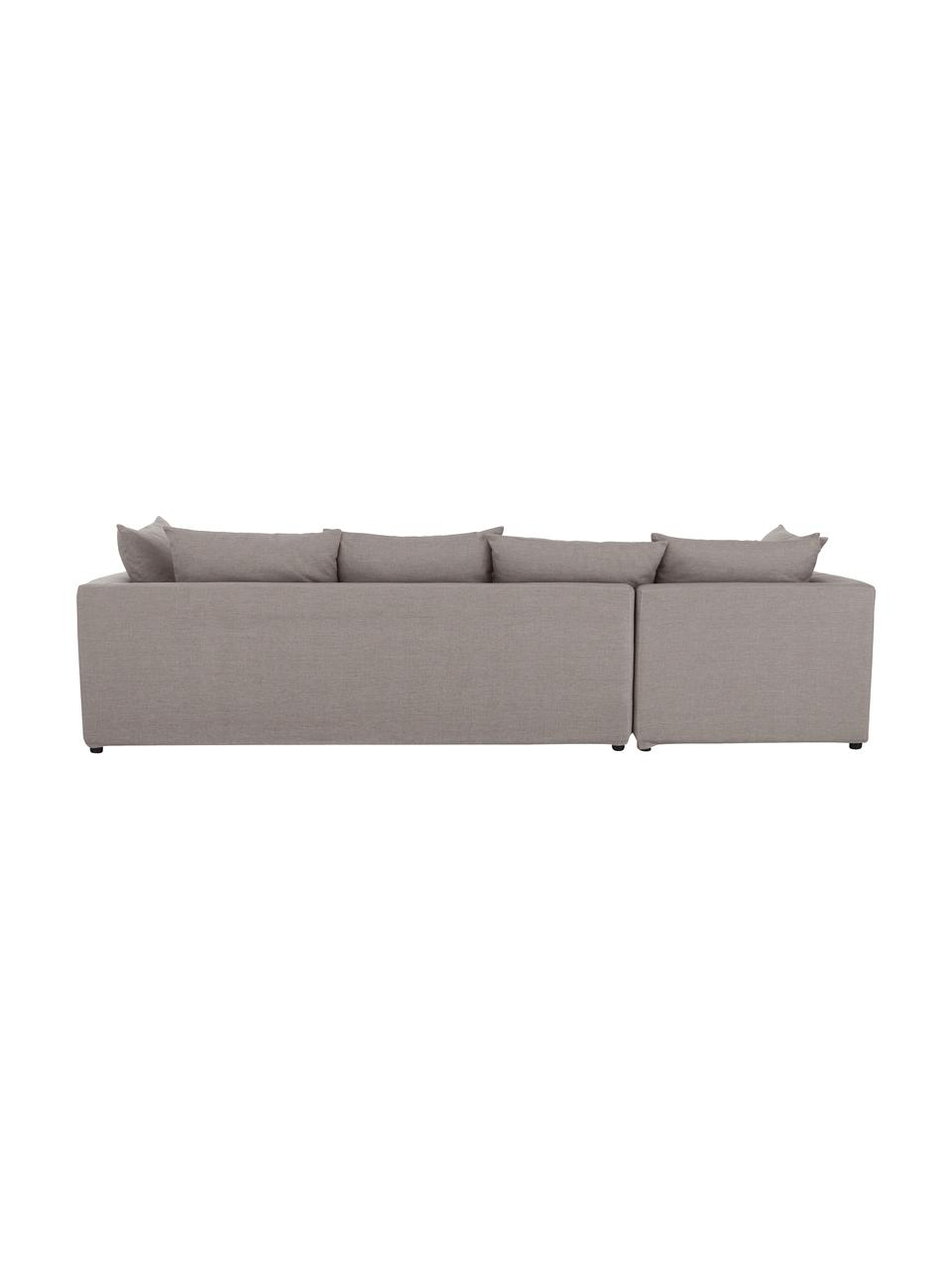 Grand canapé d'angle taupe Zach, Tissu taupe