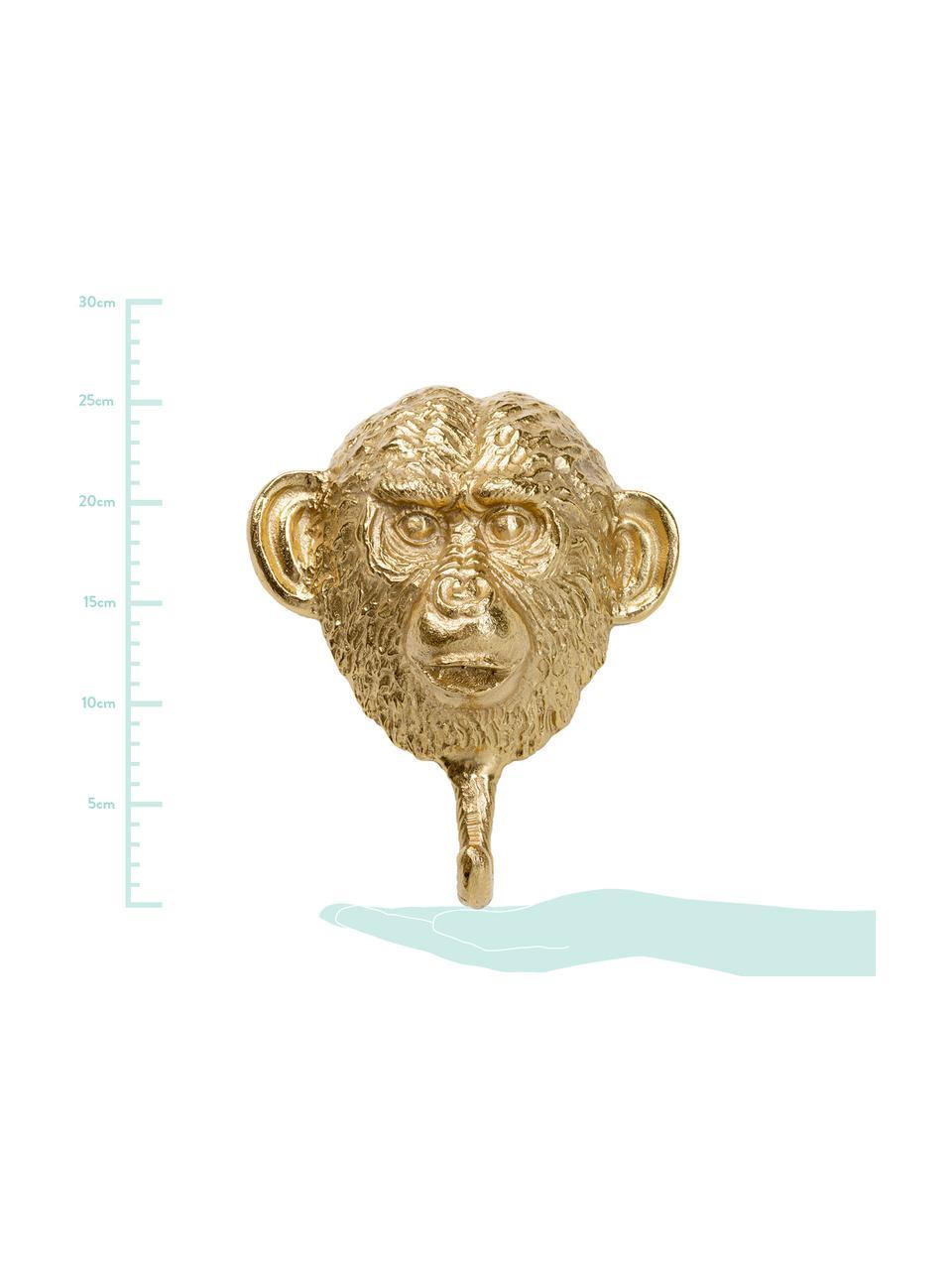 Ręcznie wykonany wieszak ścienny Monkey, Aluminium, mosiądz, Mosiądz, S 21 x W 26 cm