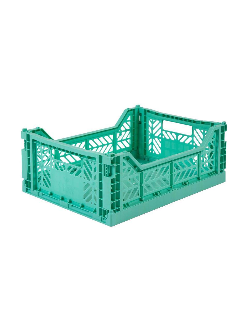 Cesto medio pieghevole e impilabile Mint, Materiale sintetico riciclato, Verde menta, Larg. 40 x Alt. 14 cm
