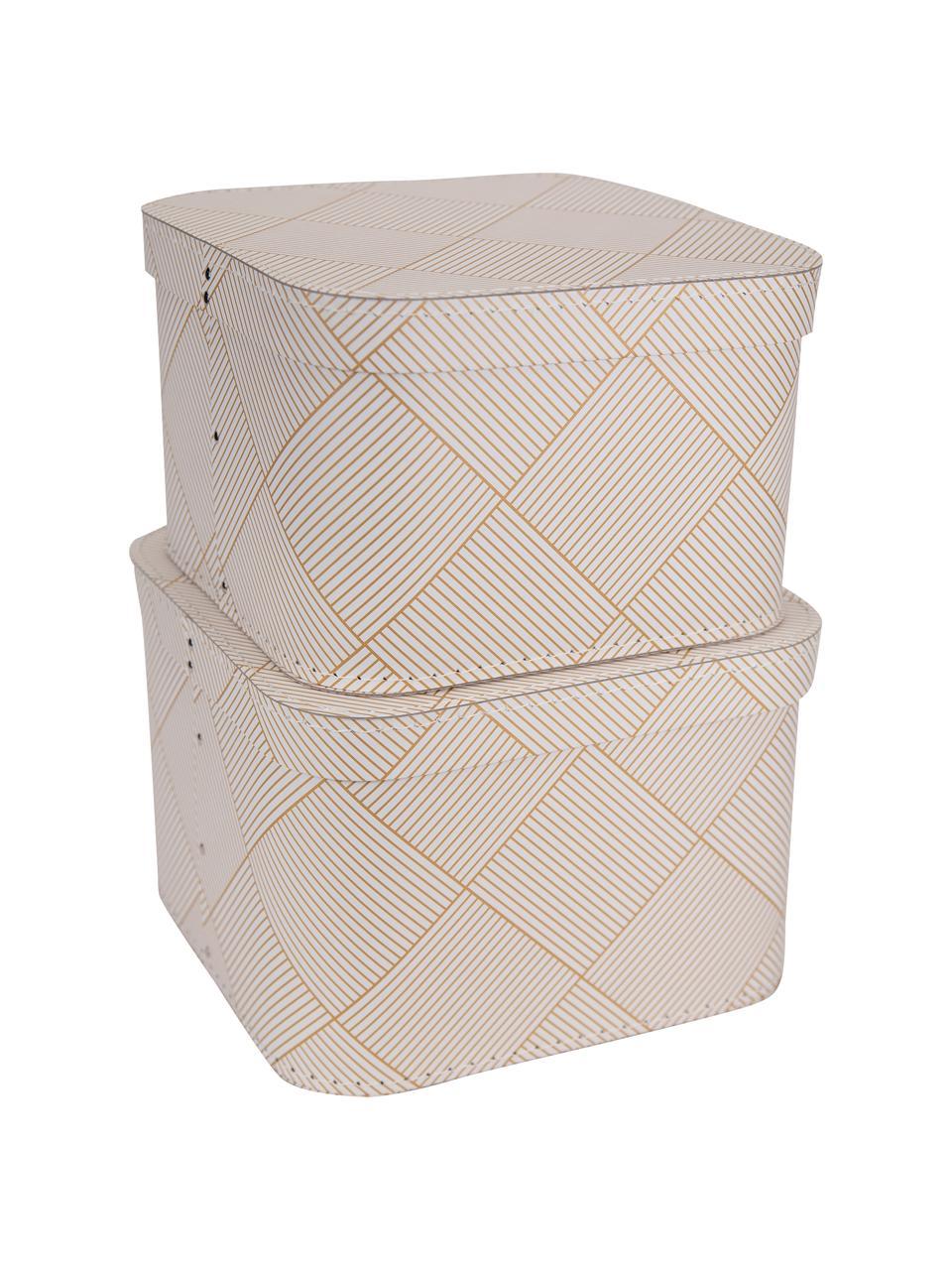 Opbergdozenset Ludvig, 2-delig, Stevig, gelamineerd karton, Goudkleurig, wit, Set met verschillende formaten