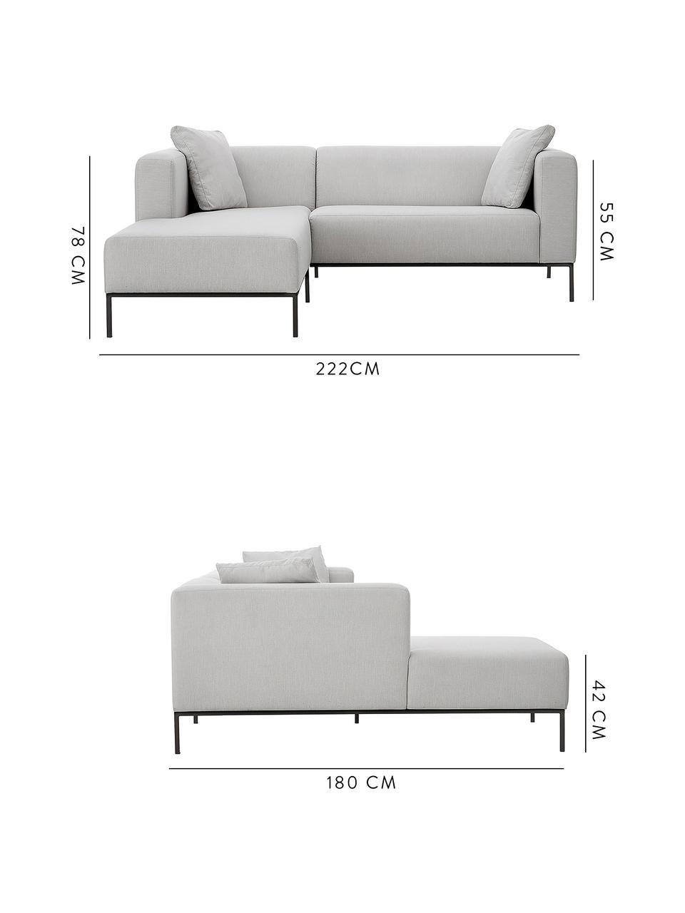 Canapé d'angle gris Carrie, Tissu gris