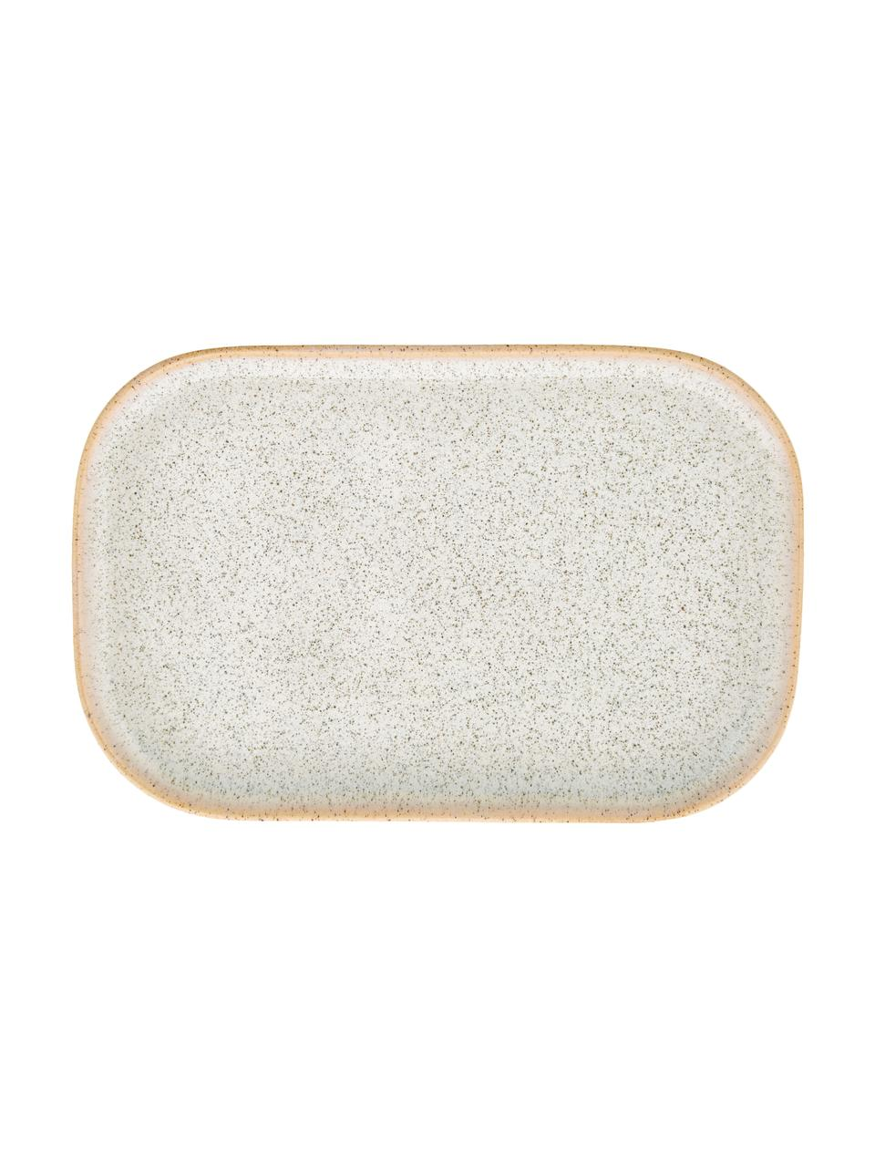 Handgemachte Steingut-Servierplatten Addison B 15 x L 23 cm, 3er-Set, Steingut, Beige, Weiß, 15 x 23 cm