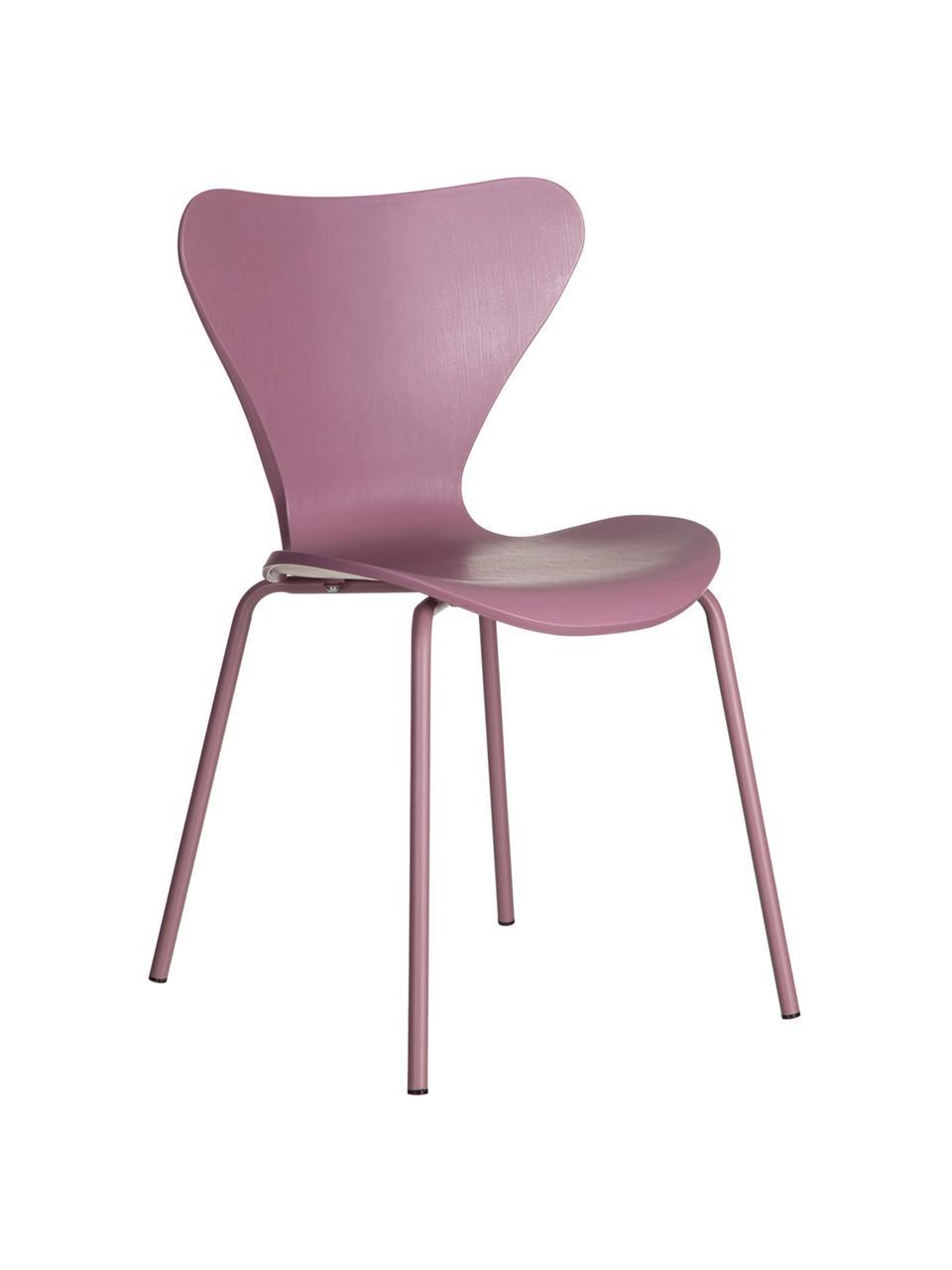 Stapelbare Kunststoffstühle Pippi, 2 Stück, Sitzfläche: Polypropylen, Beine: Metall, beschichtet, Violett, B 47 x T 50 cm