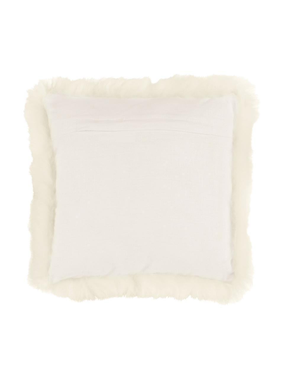 Housse de coussin peau de mouton crème Oslo, Blanc crème