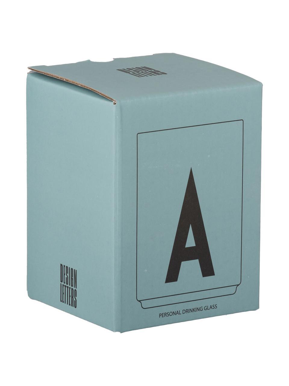 Design waterglas Personal met letters (varianten van A tot Z), Borosilicaatglas, Transparant, zwart, Waterglas A