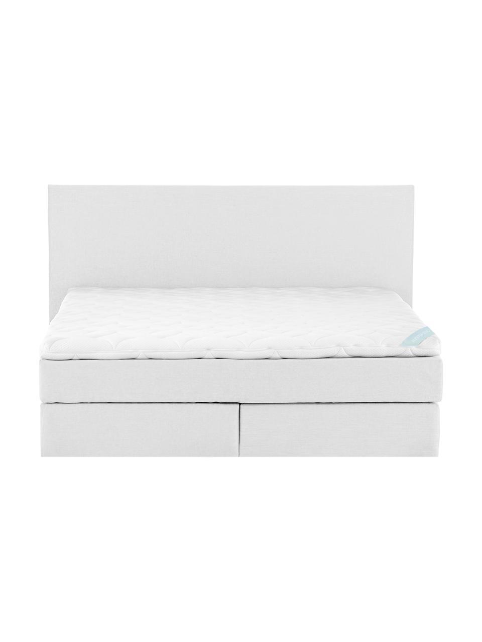 Łóżko kontynentalne premium Eliza, Nogi: lite drewno bukowe, lakie, Jasny szary, 200 x 200 cm