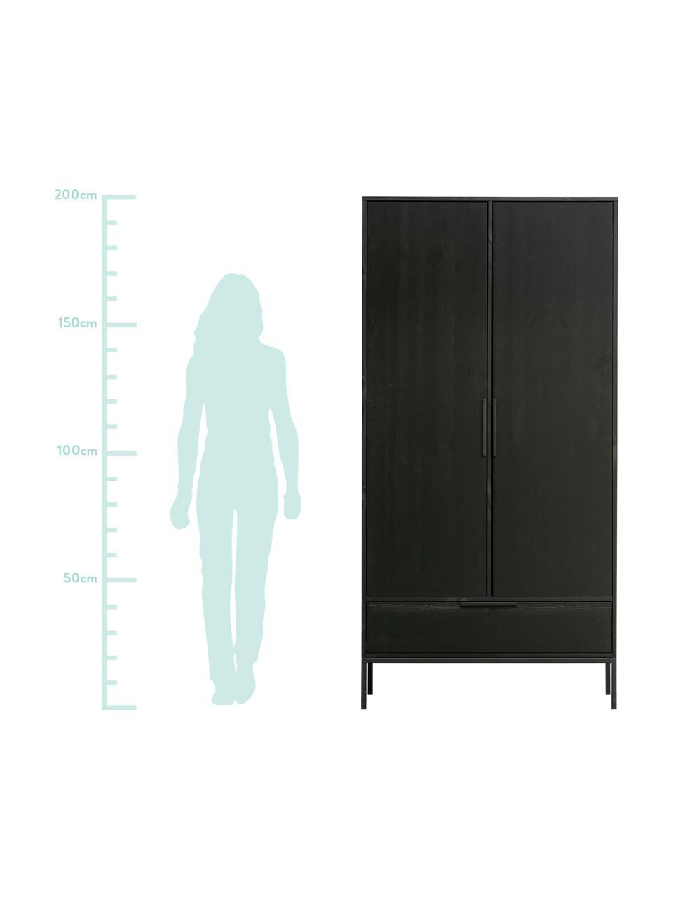 Szafa Adam, Korpus: drewno sosnowe, lakierowa, Nogi: metal powlekany, Czarny, S 100 x W 200 cm