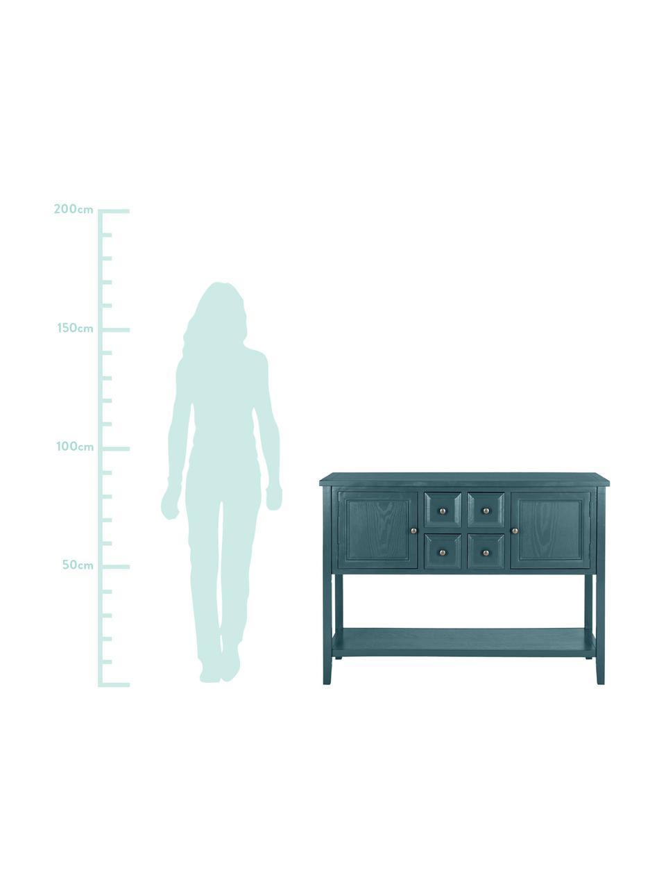 Blaues Sideboard Amy im Landhausstil, Korpus: Ulmenholz, Kiefernholz, l, Griffe und Scharniere: Metall, verzinkt, Petrol, 116 x 86 cm