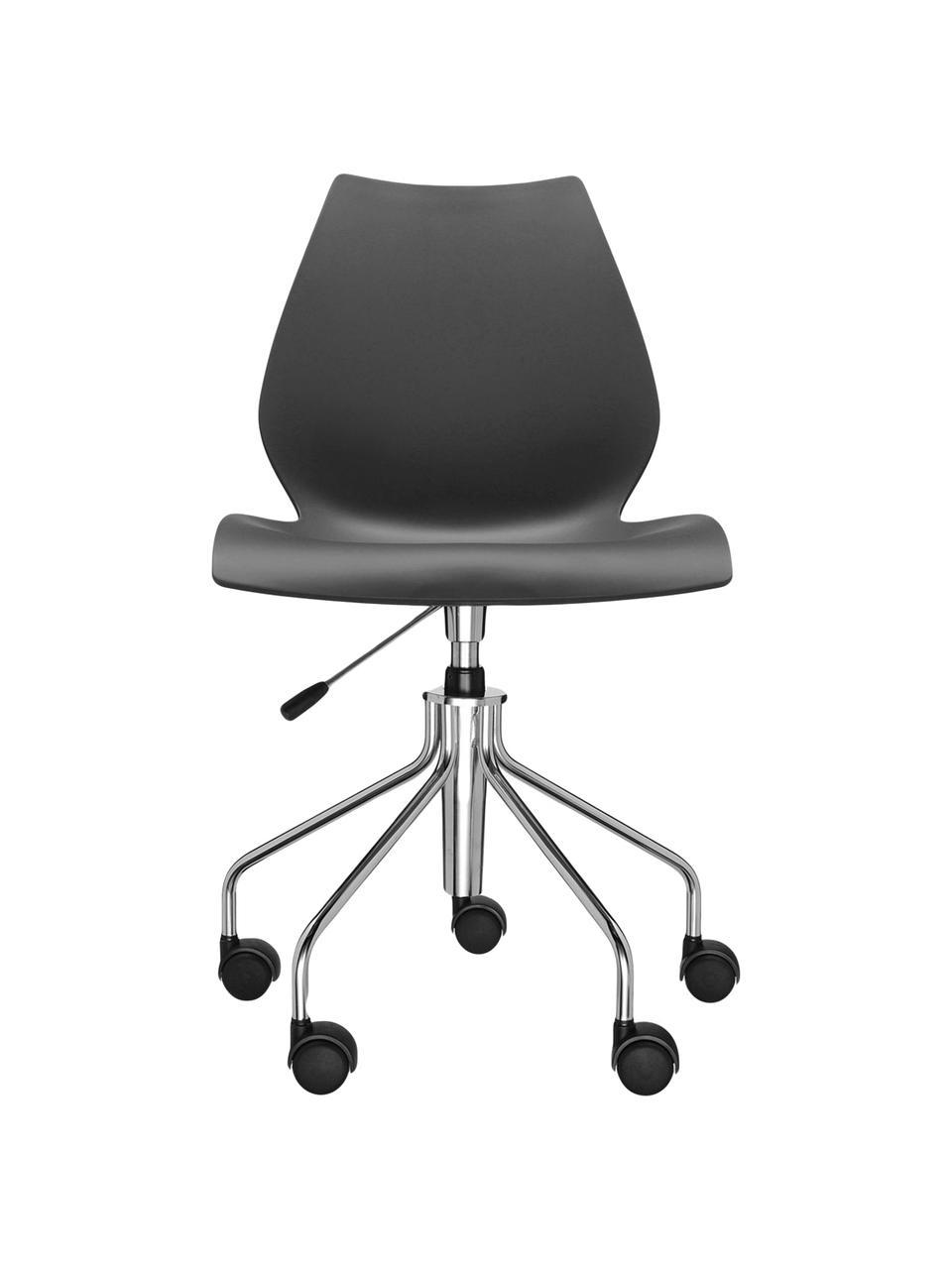 Schwarzer Bürodrehstuhl Maui, höhenverstellbar, Gestell: Stahl, verchromt, Sitzfläche: Polypropylen, Schwarz, Chrom, B 58 x T 52 cm