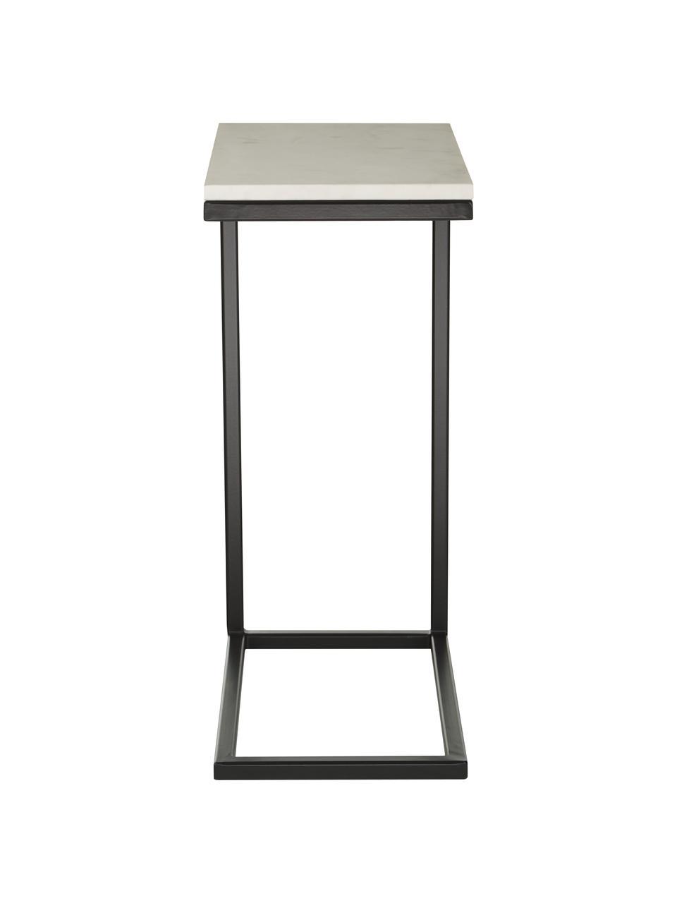 Marmor-Beistelltisch Celow, Tischplatte: Marmor, Mitteldichte Holz, Gestell: Metall, pulverbeschichtet, Weiß, 45 x 62 cm