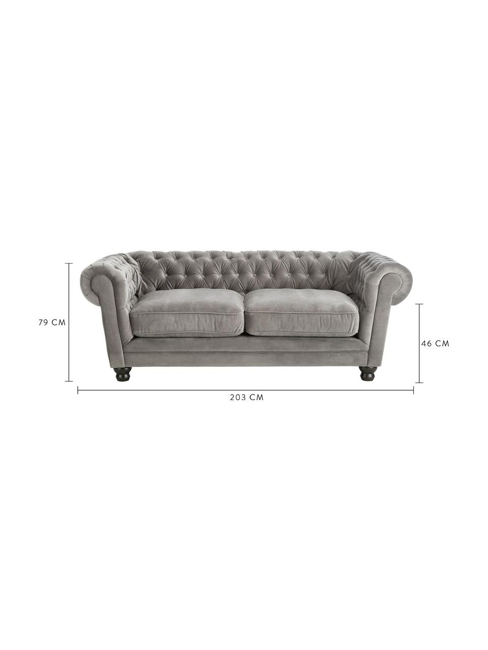 Canapé Chesterfield 2 places velours Sally, Velours gris