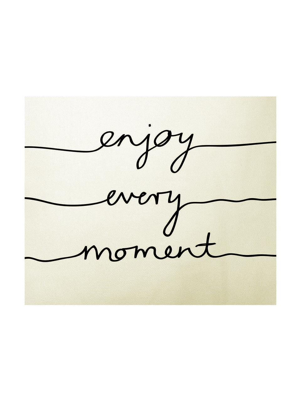 Federa Enjoy Every Moment con scritta in nero/bianco, Poliestere, Bianco, nero, Larg. 50 x Lung. 50 cm