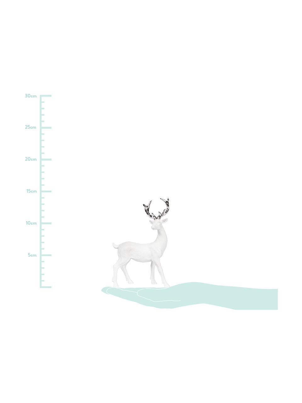 Handgefertigtes Deko-Objekt Deer, Polyresin, Weiß, Silberfarben, 9 x 14 cm