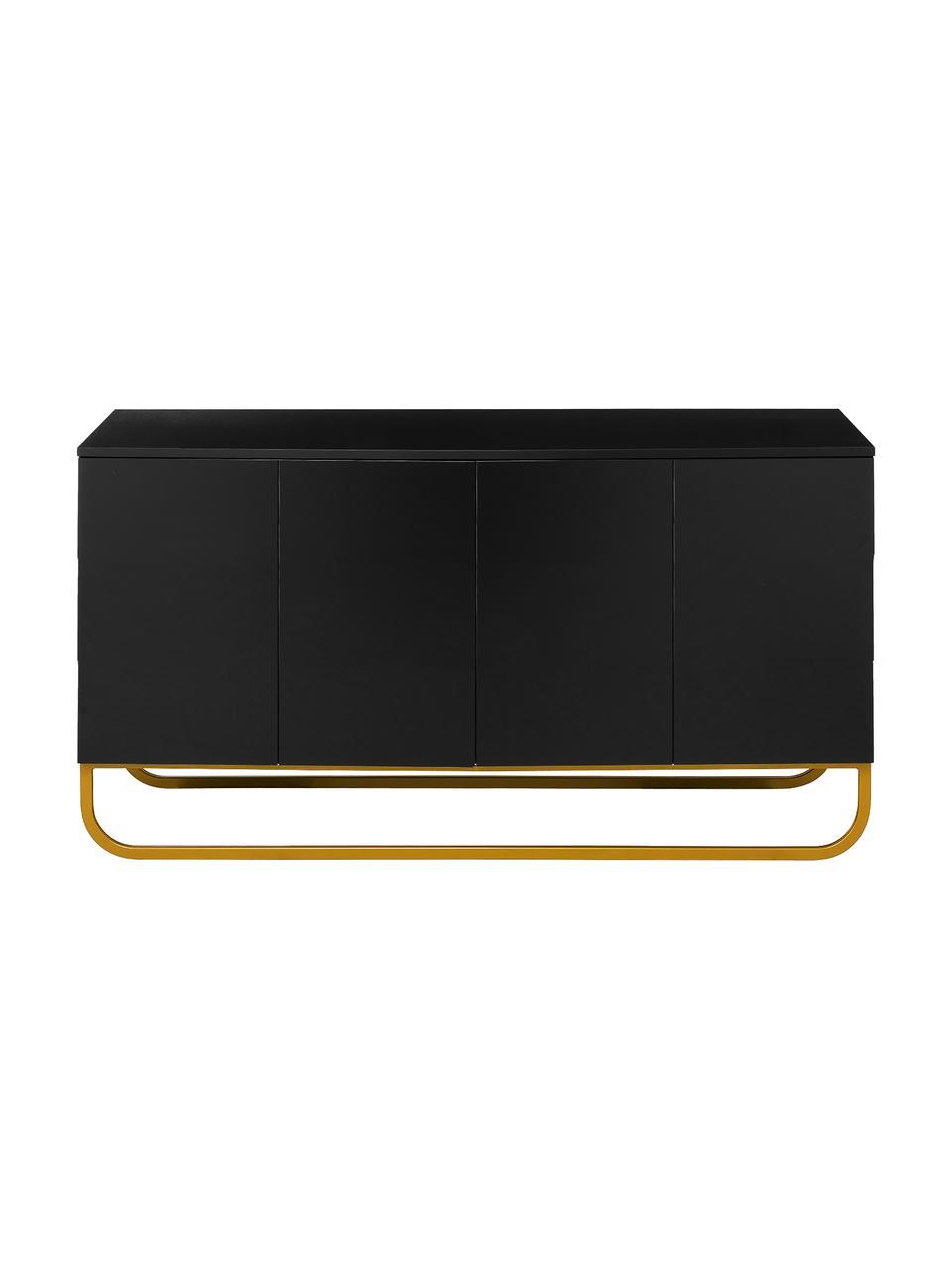 Aparador Sanford, estilo clásico, Estructura: tablero de fibras de dens, Parte trasera: tablero de fibras de desi, Patas: metal pintado en polvo, Negro, dorado, An 160 x Al 83 cm