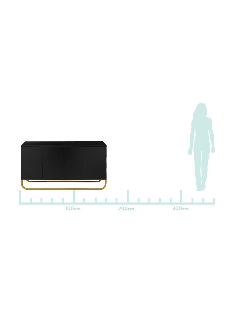Klassisches Sideboard Sanford mit Türen in Schwarz, Korpus: Mitteldichte Holzfaserpla, Fußgestell: Metall, pulverbeschichtet, Korpus: Schwarz, mattFußgestell: Goldfarben, matt, 160 x 83 cm