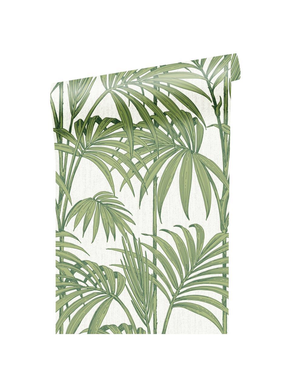Carta da parati Honolulu, Carta, Verde, bianco, Larg. 52 x Lung. 1005 cm