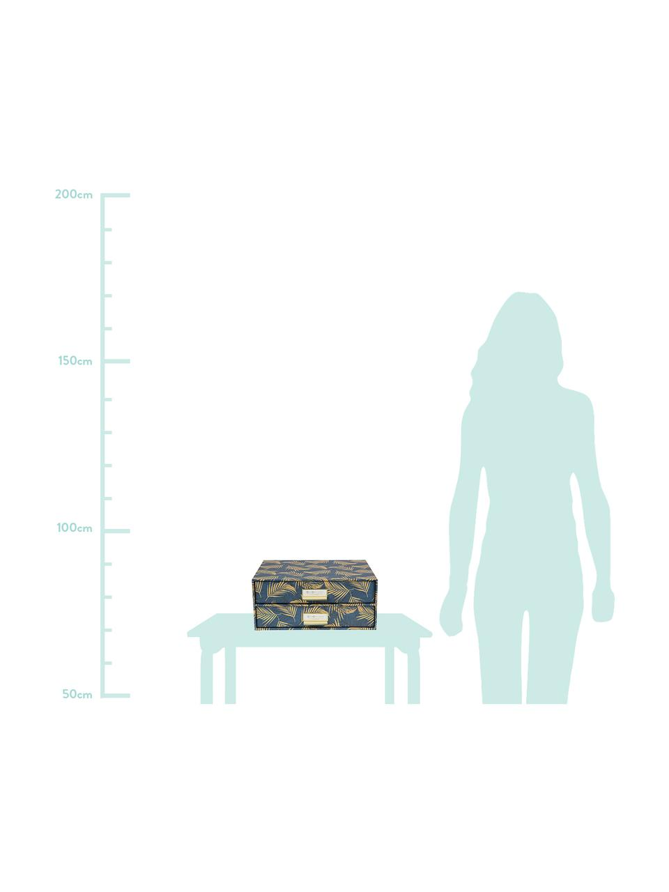 Büro-Organizer Birger, Organizer: Fester, laminierter Karto, Goldfarben, Graublau, 33 x 15 cm