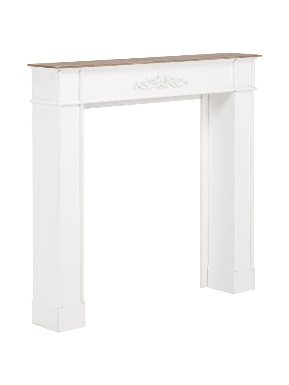 Witte schouw Fabienne, Gelakt MDF en paulowniahout, Wit, B 104 x D 18 cm