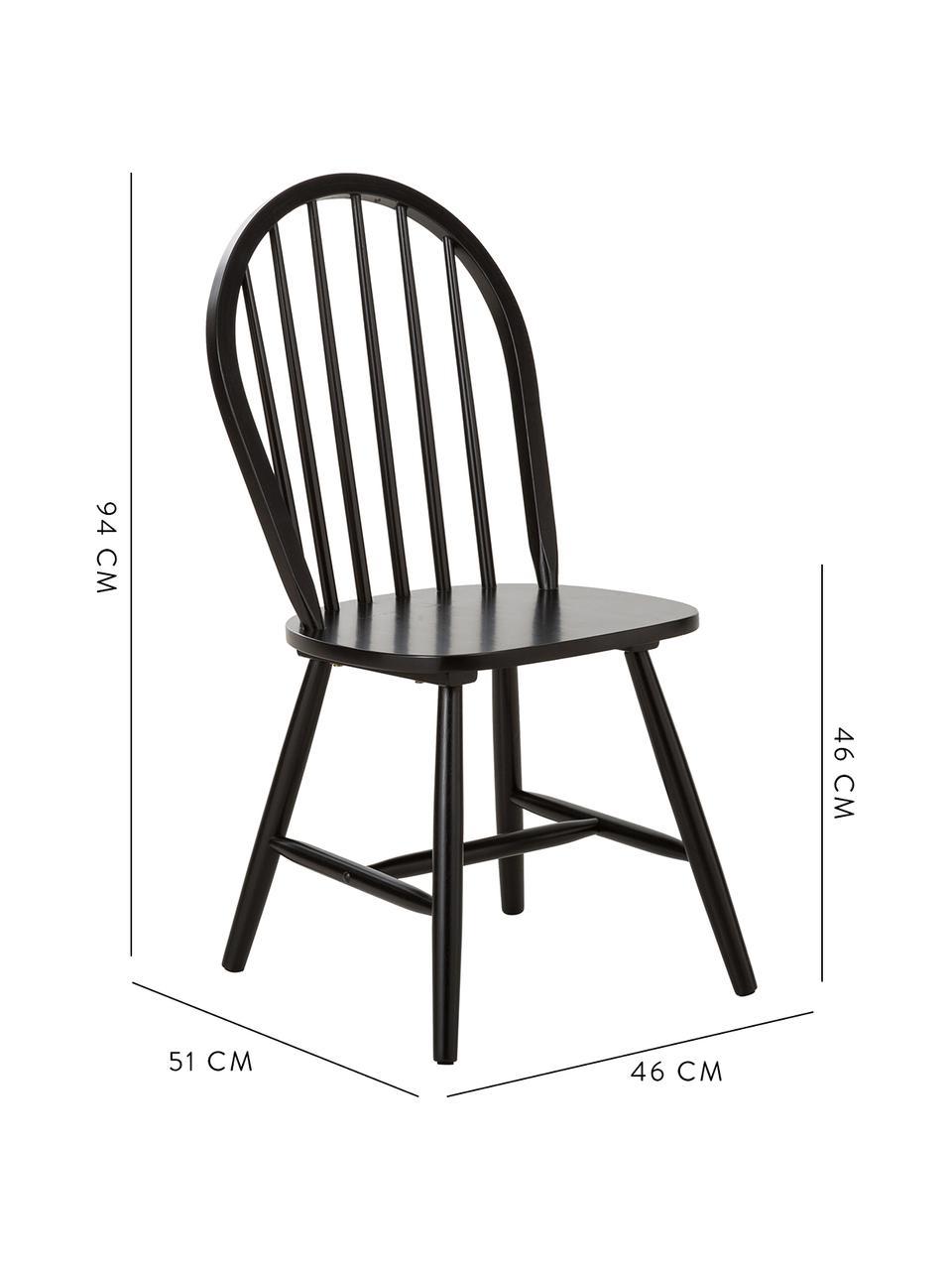 Windsor-Holzstühle Megan aus Holz, 2 Stück, Kautschukholz, lackiert, Schwarz, B 46 x T 51 cm