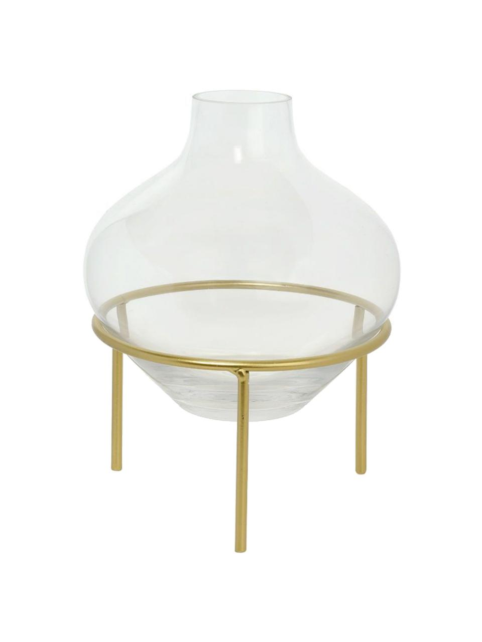 Vaso con struttura in metallo Mike, Vaso: vetro, Struttura: metallo verniciato, Ottonato, Ø 21 x Alt. 26 cm