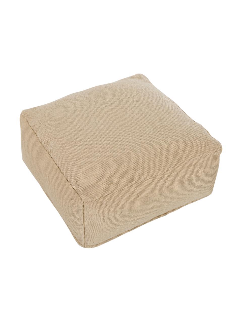 In- und Outdoor-Bodenkissen Khela, Bezug: 100% recyceltes Polyester, Beige, 60 x 25 cm
