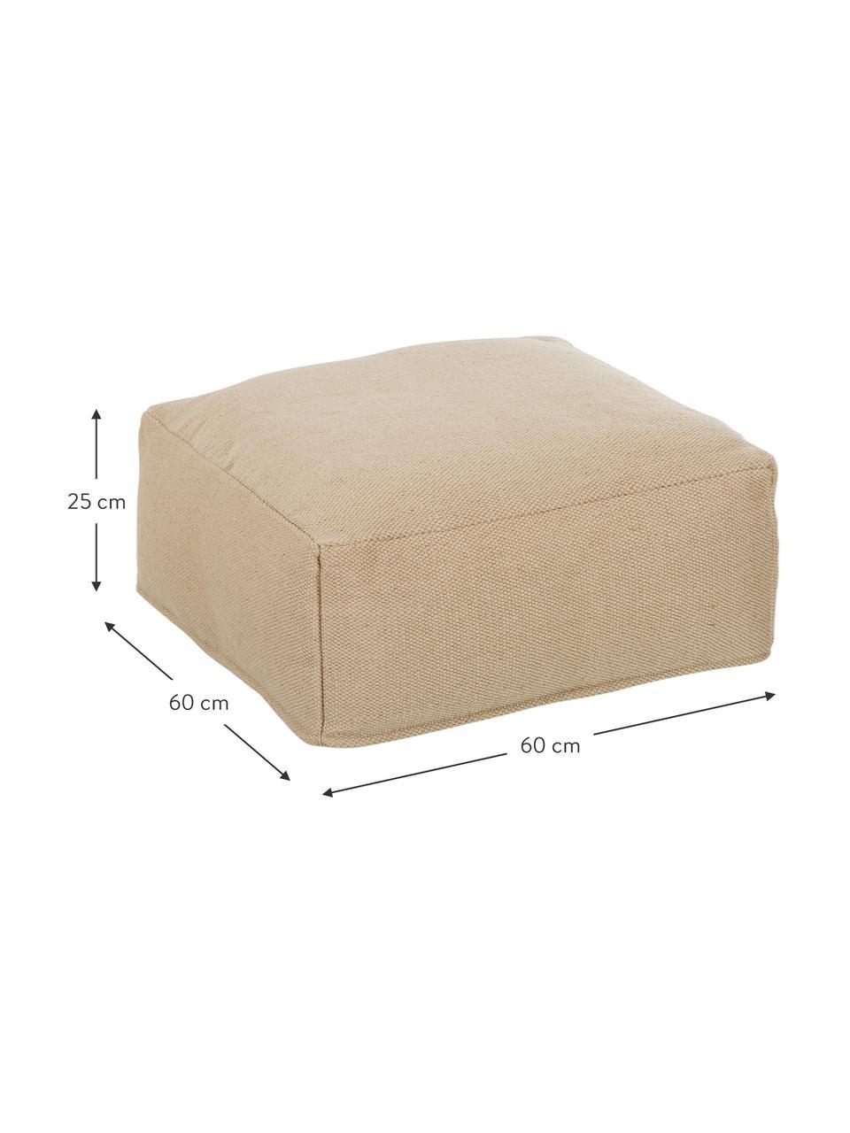 Cuscino da pavimento da interno-esterno Khela, Rivestimento: 100% poliestere riciclato, Beige, Larg. 60 x Alt. 25 cm