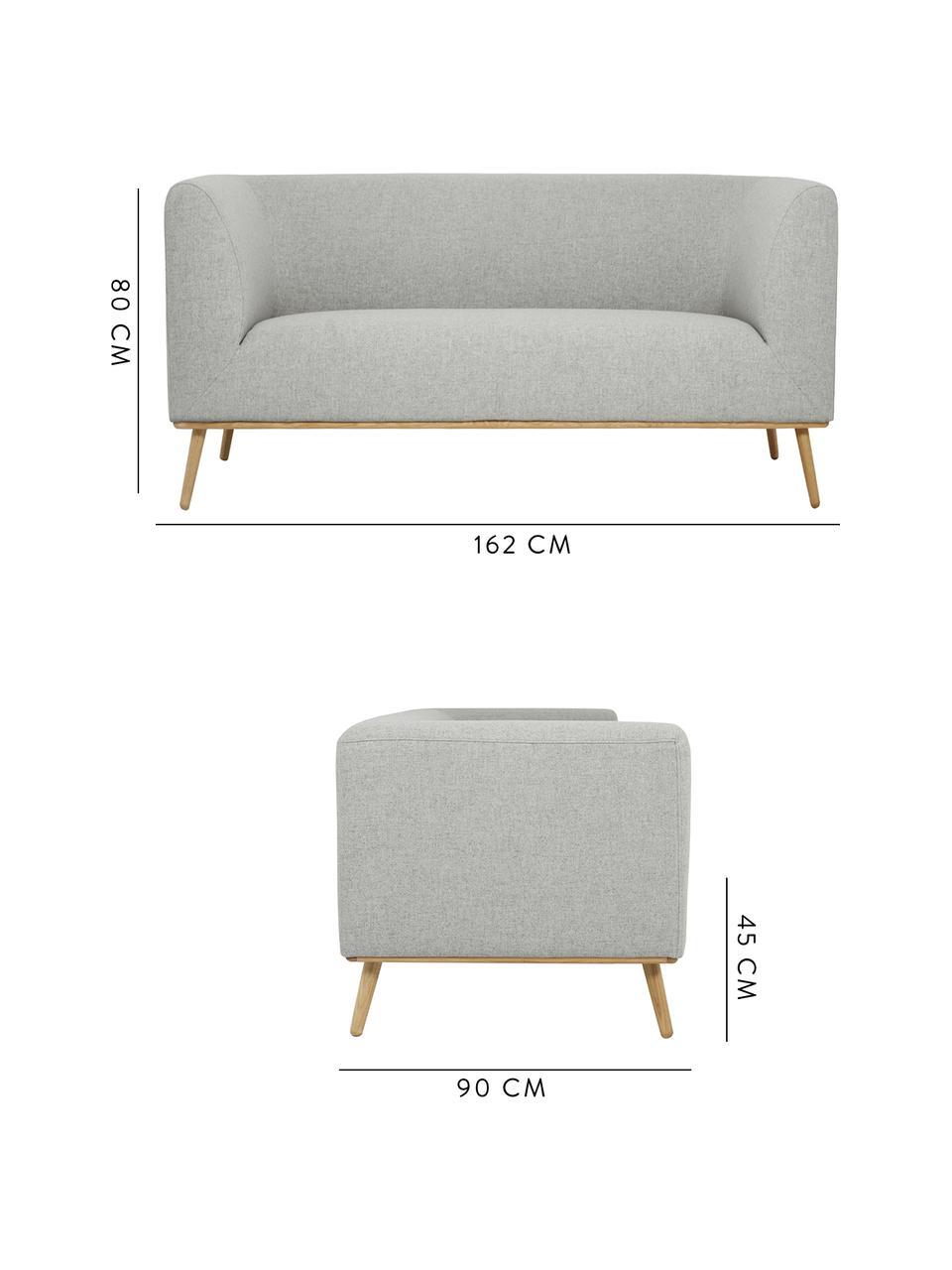 Sofa Archie (2-Sitzer) in Hellgrau mit Eichenholz-Füßen, Bezug: 100% Wolle 30.000 Scheuer, Gestell: Kiefernholz, Füße: Massives Eichenholz, geöl, Webstoff Hellgrau, B 162 x T 90 cm