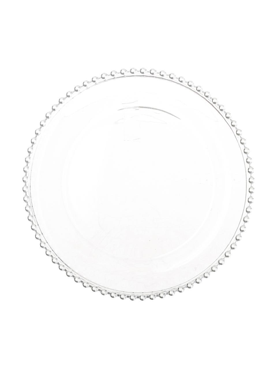 Piattino da dessert Perles 2 pz, Vetro, Trasparente, Ø 21 cm